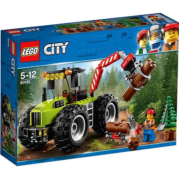 LEGO City Great Vehicles 60181: Лесной тракторLEGO<br>Характеристики товара:<br><br>• возраст: от 6 лет;<br>• серия LEGO: City;<br>• материал: пластик;<br>• количество деталей: 174 шт.;<br>•  • количество минифигурок: 1;<br>• дополнительные аксессуары;<br>• размер упаковки: 7 х 19 х 26 см;<br>• вес: 374 гр.;<br>• страна производитель: Чехия, Дания.<br><br>Особенности и функционал:<br><br>• вращающиеся колёса;<br>• открывающаяся кабина;<br>• рабочее устройство для поднятия бревен;<br>• подходит для использования с другими наборами серии LEGO City.<br><br>Надевай каску и отправляйся в лес! Садись в кабину лесного трактора и начинай укладывать брёвна на подставку, чтобы затем распилить их цепной пилой. Не забудь собрать сосновые шишки и посадить их в землю, когда работы по заготовке леса будут закончены. Пусть LEGO® City всегда окружают густые леса!<br><br>LEGO City Great Vehicles 60181: Лесной трактор можно купить в нашем интернет-магазине.<br>Ширина мм: 264; Глубина мм: 192; Высота мм: 66; Вес г: 363; Возраст от месяцев: 60; Возраст до месяцев: 144; Пол: Мужской; Возраст: Детский; SKU: 7221498;