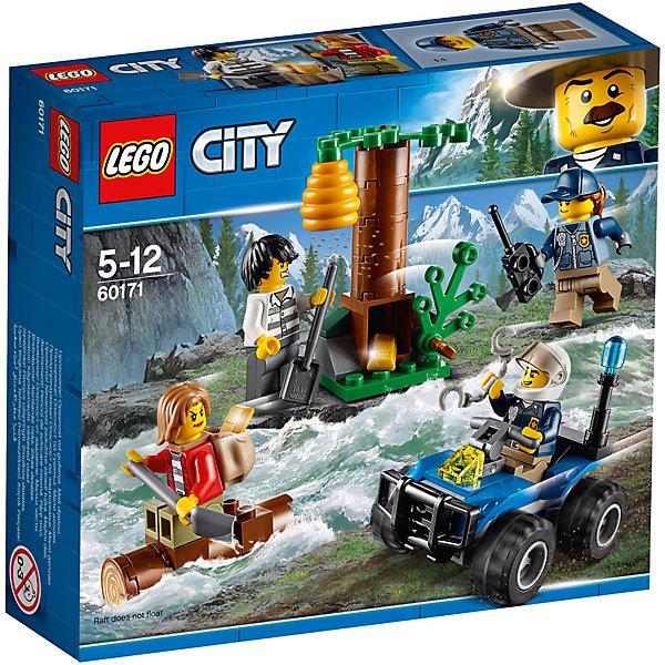 Конструктор LEGO City 60171: Убежище в горахLEGO<br>Характеристики товара:<br><br>• возраст: от 5 лет;<br>• серия LEGO: City;<br>• материал: пластик;<br>• количество деталей: 88 шт.;<br>• количество минифигурок: 4;<br>• в наборе: квадроцикл, дерево, бревно, 2 лопаты, наручники, листва, осиное гнездо, 2 золотых слитка, рация;<br>• размер упаковки: 14х15х4 см;<br>• вес упаковки: 126 гр.;<br>• страна бренда: Дания.<br><br>Конструктор LEGO City: «Убежище в горах» представляет сцену поимки воров, которые скрываются в своем укрытии и прячут украденные слитки золота.<br><br>Полицейский на своем квадроцикле уже почти догнал преступников, но те успели спрятать награбленное в земле под деревом и уже собрались удирать на бревне по реке. Набор открывает простор для фантазии ребенка. Конструктор выполнен из качественного безопасного пластика.<br><br>Особенности и функционал:<br><br>• зелень у дерева подвижная, может закрывать тайник;<br>• подвижный квадроцикл;<br>• подходит для использования с другими наборами серии LEGO City.<br><br>Конструктор LEGO City 60171: «Убежище в горах» можно купить в нашем интернет-магазине.<br>Ширина мм: 158; Глубина мм: 144; Высота мм: 48; Вес г: 126; Возраст от месяцев: 60; Возраст до месяцев: 144; Пол: Мужской; Возраст: Детский; SKU: 7221502;