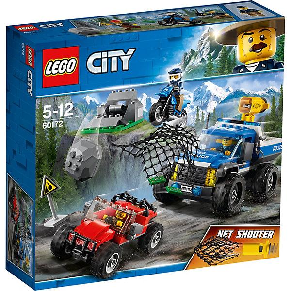 Конструктор LEGO City 60172: Погоня по грунтовой дорогеLEGO<br>Характеристики товара:<br><br>• возраст: от 5 лет;<br>• серия LEGO: City;<br>• материал: пластик;<br>• количество деталей: 297 шт.;<br>• количество минифигурок: 3;<br>• в наборе: вездеход с пушкой, мотоцикл, багги, гора, булыжник, сеть, рюкзак, знак, наручники, рация;<br>• размер упаковки: 26х28х7 см;<br>• вес упаковки: 573 гр.;<br>• страна бренда: Дания.<br><br>Конструктор LEGO City: «Погоня по грунтовой дороге» представляет сцену поимки вора, который скрывается в горной местности и прячет украденные банкноты.<br><br>Полицейские на своих внедорожнике и мотоцикле уже почти догнали преступника, но тот успел уйти вперед, оставив позади себя обвал валунов. Набор открывает простор для фантазии ребенка. Конструктор выполнен из качественного безопасного пластика.<br><br>Особенности и функционал:<br><br>• гора имеет функцию сброса булыжника;<br>• пушка внедорожника с функцией выстрела сетью;<br>• подходит для использования с другими наборами серии LEGO City.<br><br>Конструктор LEGO City 60172: «Погоня по грунтовой дороге» можно купить в нашем интернет-магазине.<br>Ширина мм: 282; Глубина мм: 264; Высота мм: 83; Вес г: 567; Возраст от месяцев: 60; Возраст до месяцев: 144; Пол: Мужской; Возраст: Детский; SKU: 7221503;