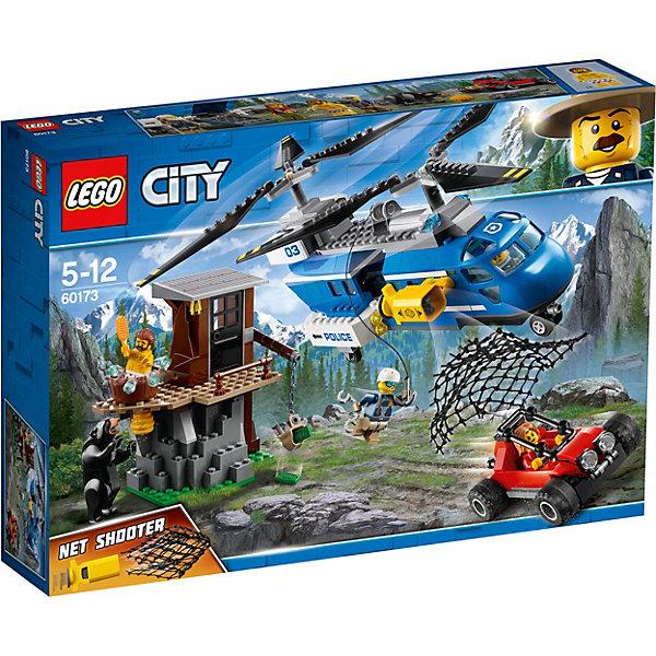 Конструктор LEGO City 60173: Погоня в горахLEGO<br>Характеристики товара:<br><br>• возраст: от 5 лет;<br>• серия LEGO: City;<br>• материал: пластик;<br>• количество деталей: 303 шт.;<br>• количество минифигурок: 5;<br>• в наборе: вертолет полиции, притон воров, багги воров, 4 элемента имитирующих воду, сеть, щетка, кружка, рюкзак, 2 банкноты;<br>• размер вертолета: 13х24х8 см;<br>• размер притона: 13х12х7 см;<br>• размер упаковки: 26х38х7 см;<br>• вес упаковки: 763 гр.;<br>• страна бренда: Дания.<br><br>Конструктор LEGO City: «Погоня в горах» представляет сцену поимки грабителей, которые скрываются в своем убежище в горах и прячут украденные банкноты.<br><br>Полицейские на вертолете уже почти догнали преступников, выпустив на них сетку, но вместо этого поймали дикого медведя. Набор открывает простор для фантазии ребенка. Конструктор выполнен из качественного безопасного пластика.<br><br>Особенности и функционал:<br><br>• лопасти вертолета вращаются, двери кабины и заднего отсека открываются;<br>• вертолет оснащен рабочей лебедкой и пушкой для выстрела сетью;<br>• логово бандитов оснащено краном для подъема рюкзака;<br>• подходит для использования с другими наборами серии LEGO City.<br><br>Конструктор LEGO City 60173: «Погоня в горах» можно купить в нашем интернет-магазине.<br>Ширина мм: 382; Глубина мм: 70; Высота мм: 262; Вес г: 762; Возраст от месяцев: 60; Возраст до месяцев: 144; Пол: Мужской; Возраст: Детский; SKU: 7221504;