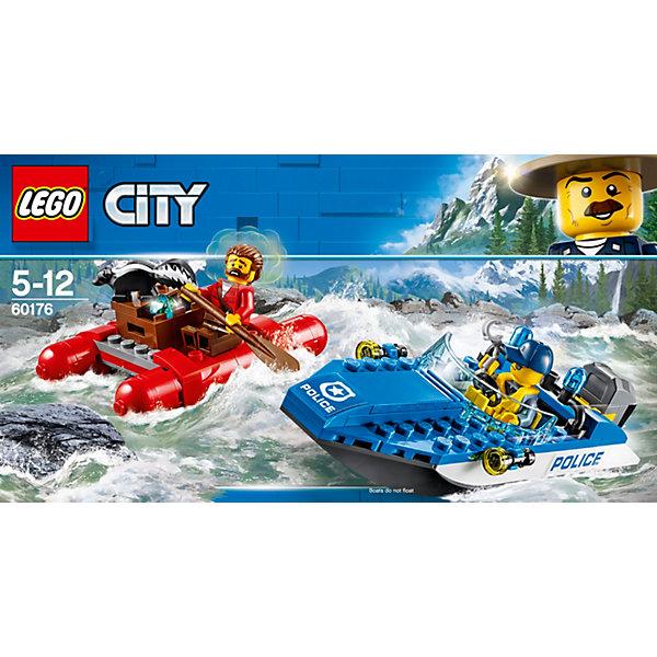 Конструктор LEGO City 60176: Погоня по горной рекеLEGO<br>Характеристики товара:<br><br>• возраст: от 5 лет;<br>• серия LEGO: City;<br>• материал: пластик;<br>• количество деталей: 126 шт.;<br>• количество минифигурок: 3;<br>• в наборе: катер, плот, коробка, наручники, монтировка, 3 кристалла, весло;<br>• размер катера: 4х15х6 см;<br>• размер плота: 8х6х2 см;<br>• размер упаковки: 14х26х4 см;<br>• вес упаковки: 236 гр.;<br>• страна бренда: Дания.<br><br>Конструктор LEGO City: «Погоня по горной реке» представляет сцену поимки грабителя, который сбегает от полиции на плоту с награбленным.<br><br>Полицейский на катере уже почти догнал преступника, на борт к которому успел запрыгнуть скунс. Набор открывает простор для фантазии ребенка. Конструктор выполнен из качественного безопасного пластика.<br><br>Особенности и функционал:<br><br>• мотор катера вращается;<br>• крышка коробки открывается с помощью лома грабителя;<br>• подходит для использования с другими наборами серии LEGO City.<br><br>Конструктор LEGO City 60176: «Погоня по горной реке» можно купить в нашем интернет-магазине.<br>Ширина мм: 264; Глубина мм: 142; Высота мм: 53; Вес г: 228; Возраст от месяцев: 60; Возраст до месяцев: 144; Пол: Мужской; Возраст: Детский; SKU: 7221506;