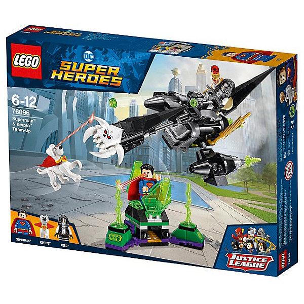 Конструктор LEGO Super Heroes 76096: Супермен и Крипто объединяют усилияLEGO Super Heroes<br>Характеристики товара:<br><br>• возраст: от 6 лет;<br>• серия LEGO: Super Heroes;<br>• материал: пластик;<br>• количество деталей: 190 шт.;<br>• в наборе: тюрьма, байк, зеленые лучи;<br>• количество минифигурок: 3;<br>• размер байка: 9х20х11 см;<br>• размер упаковки: 19х26х4 см;<br>• вес упаковки: 292 гр.;<br>• страна изготовитель: Дания.<br><br>В собранном виде конструктор LEGO Super Heroes: «Супермен и Крипто объединяют усилия» представляет фигурки Супермена и его пса, которые борятся против врага Лобо. Лобо упрятал супергероя в тюрьму, из которой ему не выбраться, а сам патрулирует место на боевом байке.<br><br>После того, как Бэтмен выбирается из заточения, ему необходимо вернуть свои силы с помощью устройства на транспорте Лобо. Непростая будет битва!<br><br>Элементы конструктора детализированы, выполнены в ярких цветах из безопасного и прочного пластика.<br><br>Особенности и функционал:<br><br>• тюрьма оснащена взрывающим механизмом;<br>• байк имеет функцию выбрасывания бомбы;<br>• дополняется набором LEGO Super Heroes 76097.<br><br>Конструктор LEGO Super Heroes 76096: «Супермен и Крипто объединяют усилия» можно купить в нашем интернет-магазине.<br>Ширина мм: 262; Глубина мм: 46; Высота мм: 191; Вес г: 322; Возраст от месяцев: 72; Возраст до месяцев: 144; Пол: Мужской; Возраст: Детский; SKU: 7221513;