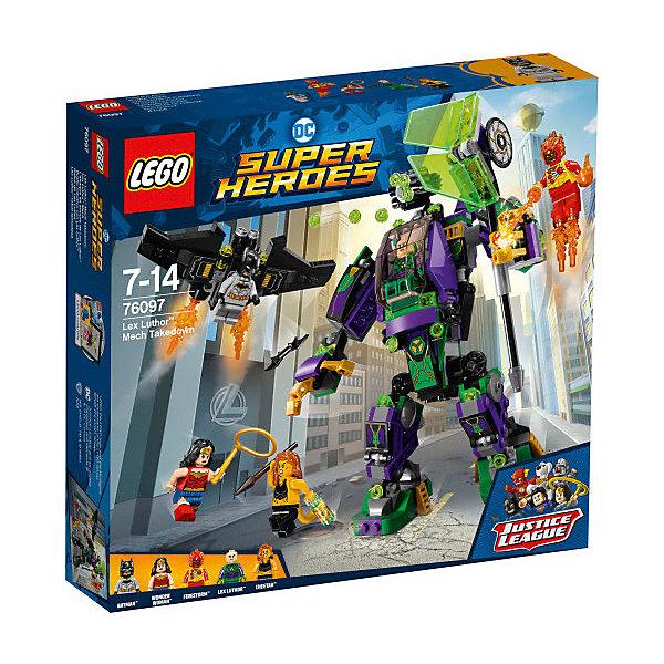 Конструктор LEGO Super Heroes 76097: Сражение с роботом Лекса ЛютораLEGO Super Heroes<br>Характеристики товара:<br><br>• возраст: от 7 лет;<br>• серия LEGO: Super Heroes;<br>• материал: пластик;<br>• количество деталей: 406 шт.;<br>• в наборе: робот, планер, инфузор, бэтаранг, лассо, копье, снаряды, пламя;<br>• количество минифигурок: 5;<br>• размер робота: 19х5х12 см;<br>• размер упаковки: 26х28х5 см;<br>• вес упаковки: 504 гр.;<br>• страна бренда: Дания.<br><br>В собранном виде конструктор LEGO Super Heroes: «Сражение с роботом Лекса Лютора» представляет фигурки Бэтмена, Чудо-женщины, Огненного смерча и Гепарда, которые борятся против сильного врага с помощью оружия и техники.<br><br>Элементы конструктора детализированы, выполнены в ярких цветах из безопасного и прочного пластика.<br><br>Особенности и функционал:<br><br>• робот оснащен капсулой пилота, спасательным блоком, пулеметом, в руках топор;<br>• инфузоры крепятся к роботу;<br>• спасательный блок с крыльями и оружием;<br>• конструктор выполнен по мотивам вселенной супергероев DC;<br>• дополняется набором LEGO Super Heroes 76096.<br><br>Конструктор LEGO Super Heroes 76097: «Сражение с роботом Лекса Лютора» можно купить в нашем интернет-магазине.<br>Ширина мм: 282; Глубина мм: 59; Высота мм: 262; Вес г: 504; Возраст от месяцев: 84; Возраст до месяцев: 168; Пол: Мужской; Возраст: Детский; SKU: 7221514;