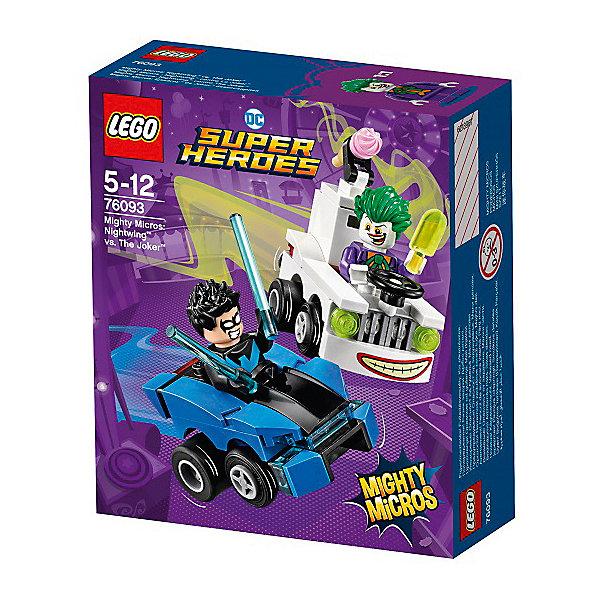 Конструктор LEGO Super Heroes 76093: Mighty Micros: Найтвинг против ДжокераLEGO Super Heroes<br>Характеристики товара:<br><br>• возраст: от 5 лет;<br>• серия LEGO: Super Heroes;<br>• материал: пластик;<br>• количество деталей: 84 шт.;<br>• в наборе: автомобили, оружие, мороженное;<br>• количество минифигурок: 2;<br>• размер машинок: 5х4х2 см, 6х6х4 см;<br>• размер упаковки: 14х12х4 см;<br>• вес упаковки: 90 гр.;<br>• страна изготовитель: Дания.<br><br>В собранном виде конструктор LEGO Super Heroes: «Найтвинг против Джокера» представляет две машины с фигурками известных персонажей, которым предстоит сразиться на дороге или в ближнем бою. Джокер вновь подготовил злую шутку, на этот раз его фургончик с мороженным источает ядовитый газ.<br><br>Элементы конструктора детализированы, выполнены в ярких цветах из безопасного и прочного пластика.<br><br>Особенности и функционал:<br><br>• багажник машины Джокера открывается;<br>• конструктор выполнен по мотивам вселенной супергероев DC;<br>• подходит для использования с другими наборами серии LEGO Super Heroes.<br><br>Конструктор LEGO Super Heroes 76093: Mighty Micros: «Найтвинг против Джокера» можно купить в нашем интернет-магазине.<br>Ширина мм: 144; Глубина мм: 124; Высота мм: 50; Вес г: 89; Возраст от месяцев: 60; Возраст до месяцев: 144; Пол: Мужской; Возраст: Детский; SKU: 7221517;