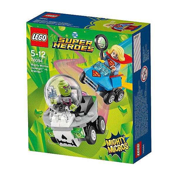 Конструктор LEGO Super Heroes 76094: Mighty Micros: Супергёрл против БрейниакаLEGO Super Heroes<br>Характеристики товара:<br><br>• возраст: от 5 лет;<br>• серия LEGO: Super Heroes;<br>• материал: пластик;<br>• количество деталей: 80 шт.;<br>• в наборе: автомобили, город в колбе, лупа;<br>• количество минифигурок: 2;<br>• размер машинок: 4х5х5 см;<br>• размер упаковки: 14х12х4 см;<br>• вес упаковки: 92 гр.;<br>• страна изготовитель: Дания.<br><br>В собранном виде конструктор LEGO Super Heroes: «Супергёрл против Брейниака» представляет две машины с фигурками известных персонажей, которым предстоит сразиться на дороге или в ближнем бою. Инопланетянин похитил город и уменьшил его до мизерных размеров. Супергёрл обязана спасти жителей! <br><br>Элементы конструктора детализированы, выполнены в ярких цветах из безопасного и прочного пластика.<br><br>Особенности и функционал:<br><br>• машина НЛО оснащена круглым откидным стеклом кабины;<br>• конструктор выполнен по мотивам вселенной супергероев DC;<br>• подходит для использования с другими наборами серии LEGO Super Heroes.<br><br>Конструктор LEGO Super Heroes 76094: Mighty Micros: «Супергёрл против Брейниака» можно купить в нашем интернет-магазине.<br>Ширина мм: 122; Глубина мм: 46; Высота мм: 141; Вес г: 92; Возраст от месяцев: 60; Возраст до месяцев: 144; Пол: Мужской; Возраст: Детский; SKU: 7221518;