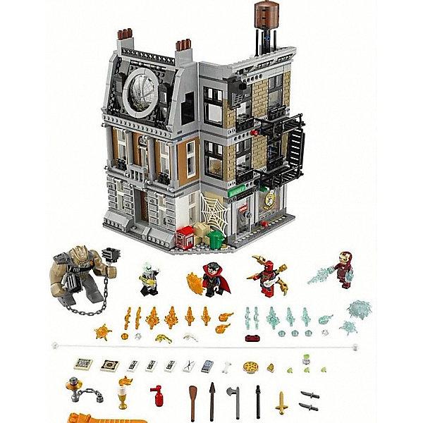 Конструктор LEGO Super Heroes76108: Решающий бой в Санктум СанкторумLEGO Super Heroes<br>Характеристики:<br><br>• возраст: от 8 лет;<br>• материал: пластик;<br>• серия LEGO: Super Heroes;<br>• количество деталей: 1004;<br>• количество минифигурок: 5;<br>• размер упаковки: 29х49х39 см;<br>• страна бренда: Дания.<br><br>Конструктор «Решающий бой в Санктум Санкторум» из серии LEGO Super Heroes посвящен блокбастеру о супергероях вселенной Marvel. В этом наборе есть пять фигурок: Доктор Стрэндж, Человек-паук, Железный Человек, Эбони Мо, Кулл Обсидан.<br><br>Мстителям придется сразиться с сильным врагом за дом Доктора Стренджа. Фигурки с точностью повторяют образы персонажей фильма, имеют такое же оружие, все элементы детализированы. <br><br>Функционал и особенности:<br><br>• для героев предусмотрен обширный арсенал с оружием;<br>• дом Доктора Стренджа имеет множество функциональных и подвижных элементов, высокая детализация;<br>• в наборе буклет по персонажам;<br>• набор сочетается с другими из серии LEGO Super Heroes к фильму «Мстители: Война бесконечности».<br><br>Конструктор LEGO Super Heroes 76108: «Решающий бой в Санктум Санкторум» можно купить в нашем интернет-магазине.<br>Ширина мм: 482; Глубина мм: 378; Высота мм: 104; Вес г: 1683; Возраст от месяцев: 96; Возраст до месяцев: 168; Пол: Мужской; Возраст: Детский; SKU: 7221524;