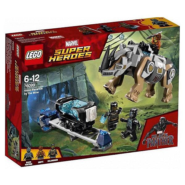 Конструктор LEGO Super Heroes 76099: Поединок с НосорогомLEGO Super Heroes<br>Характеристики товара:<br><br>• возраст: от 6 лет;<br>• серия LEGO: Super Heroes;<br>• материал: пластик;<br>• количество деталей: 229 шт.;<br>• в наборе: носорог с двумя пушками, шахта, рельсы, вагонетка, копье Окойе, вибраний;<br>• количество минифигурок: 3;<br>• размер носорога: 8х15х6 см;<br>• размер упаковки: 19х26х6 см;<br>• вес упаковки: 354 гр.;<br>• страна бренда: Дания.<br><br>Из деталей конструктора LEGO Super Heroes: «Поединок с носорогом» можно собрать игровую сцену, в которой Черная Пантера и Окойя сражаются против Эрика Киллмонгерома и его злобного носорога. <br><br>Носорог оснащен пушками и мощной броней. Главная цель Черной Пантеры добыть вибраний, который злодеи пытаются присвоить себе.<br><br>Набор открывает простор для фантазии ребенка. Элементы конструктора детализированы, выполнены в ярких цветах из безопасного и прочного пластика.<br><br>Особенности и функционал:<br><br>• рельсовый путь с имитацией взрыва;<br>• части тела носорога подвижны, есть функция стрельбы при нажатии на рычаг;<br>• вагонетка опрокидывается при имитации взрыва;<br>• конструктор выполнен по мотивам вселенной супергероев Marvel;<br>• подходит для использования с другими наборами серии LEGO Super Heroes.<br><br>Конструктор LEGO Super Heroes 76099: «Поединок с носорогом» можно купить в нашем интернет-магазине.<br>Ширина мм: 262; Глубина мм: 61; Высота мм: 191; Вес г: 376; Возраст от месяцев: 72; Возраст до месяцев: 144; Пол: Мужской; Возраст: Детский; SKU: 7221525;