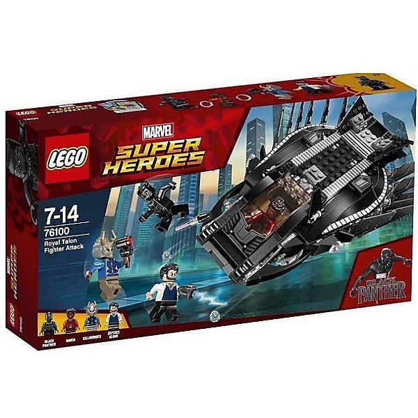 Конструктор LEGO Super Heroes 76100: Нападение Королевского КогтяLEGO Super Heroes<br>Характеристики товара:<br><br>• возраст: от 6 лет;<br>• серия LEGO: Super Heroes;<br>• материал: пластик;<br>• количество деталей: 358 шт.;<br>• в наборе: штурмовик Королевский Коготь, маска Киллмонгера, ракеты Киллмонгера, 2 боевых диска Накии;<br>• количество минифигурок: 4;<br>• размер штурмовика: 7х21х16 см;<br>• размер упаковки: 19х35х7 см;<br>• вес упаковки: 520 гр.;<br>• страна бренда: Дания.<br><br>Из деталей конструктора LEGO Super Heroes: «Нападение Королевского когтя» можно собрать игровую сцену, в которой Черная Пантера и Накия на штурмовике сражаются против Эрика Киллмонгерома и Уилисса Клау.<br><br>Штурмовик – мощная черная машина с детализированным корпусом. По ее бокам расположены крылья и пушки, есть крепкий бампер и непробиваемое лобовое стекло. Фигурки героев оснащены оружием. <br><br>Набор открывает простор для фантазии ребенка. Элементы конструктора детализированы, выполнены в ярких цветах из безопасного и прочного пластика.<br><br>Особенности и функционал:<br><br>• кабина штурмовика открывается, имеются две пушки, выстреливают по нажатию;<br>• в штурмовике есть тюремная камера; <br>• конструктор выполнен по мотивам вселенной супергероев Marvel;<br>• подходит для использования с другими наборами серии LEGO Super Heroes.<br><br>Конструктор LEGO Super Heroes 76100: «Нападение королевского когтя» можно купить в нашем интернет-магазине.<br>Ширина мм: 354; Глубина мм: 70; Высота мм: 191; Вес г: 520; Возраст от месяцев: 84; Возраст до месяцев: 168; Пол: Мужской; Возраст: Детский; SKU: 7221526;