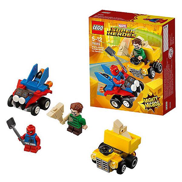 Конструктор LEGO Super Heroes 76089: Mighty Micros: Человек-паук против Песочного человекаLEGO Super Heroes<br>Характеристики товара:<br><br>• возраст: от 5 лет;<br>• серия LEGO: Super Heroes;<br>• материал: пластик;<br>• количество деталей: 89 шт.;<br>• в наборе: автомобиль, самосвал, лопата, кувалда;<br>• количество минифигурок: 2;<br>• размер машинки: 4х5х4 см;<br>• размер упаковки: 14х12х4 см;<br>• вес упаковки: 88 гр.;<br>• страна изготовитель: Дания.<br><br>В собранном виде конструктор LEGO Super Heroes: «Человек-паук против Песочного человека» представляет два автомобиля с фигурками известных персонажей, которым предстоит сразиться на дороге или в ближнем бою. <br><br>Элементы конструктора детализированы, выполнены в ярких цветах из безопасного и прочного пластика.<br><br>Особенности и функционал:<br><br>• кузов самосвала откидывается;<br>• конструктор выполнен по мотивам вселенной супергероев Marvel;<br>• подходит для использования с другими наборами серии LEGO Super Heroes.<br><br>Конструктор LEGO Super Heroes 76089: Mighty Micros: «Человек-паук против Песочного человека» можно купить в нашем интернет-магазине.<br>Ширина мм: 122; Глубина мм: 46; Высота мм: 141; Вес г: 88; Возраст от месяцев: 60; Возраст до месяцев: 144; Пол: Мужской; Возраст: Детский; SKU: 7221527;
