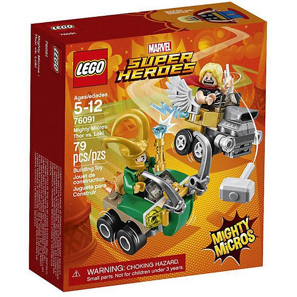 Конструктор LEGO Super Heroes 76091: Mighty Micros: Тор против ЛокиLEGO Super Heroes<br>Характеристики товара:<br><br>• возраст: от 5 лет;<br>• серия LEGO: Super Heroes;<br>• материал: пластик;<br>• количество деталей: 79 шт.;<br>• в наборе: автомобили, молот, скипетр, плащ, шлем;<br>• количество минифигурок: 2;<br>• размер машинок: 4х6х6 см, 5х6х4 см;<br>• размер упаковки: 14х12х4 см;<br>• вес упаковки: 86 гр.;<br>• страна бренда: Дания.<br><br>В собранном виде конструктор LEGO Super Heroes: «Тор против Локи» представляет две машины с фигурками известных персонажей, которым предстоит сразиться на дороге, в воздухе или в ближнем бою. <br><br>Элементы конструктора детализированы, выполнены в ярких цветах из безопасного и прочного пластика.<br><br>Особенности и функционал:<br><br>• машина Локи усилена бампером с рогами;<br>• крылья на машине Тора подвижные;<br>• конструктор выполнен по мотивам вселенной супергероев Marvel;<br>• подходит для использования с другими наборами серии LEGO Super Heroes.<br><br>Конструктор LEGO Super Heroes 76091: Mighty Micros: «Тор против Локи» можно купить в нашем интернет-магазине.<br>Ширина мм: 142; Глубина мм: 122; Высота мм: 50; Вес г: 84; Возраст от месяцев: 60; Возраст до месяцев: 144; Пол: Мужской; Возраст: Детский; SKU: 7221529;
