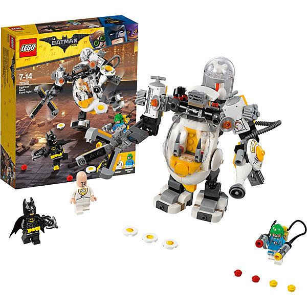 Конструктор LEGO Batman Movie 70920: Бой с роботом ЯйцеголовогоLEGO Batman Movie<br>Характеристики товара:<br><br>• возраст: от 7 лет;<br>• серия LEGO: Batman Movie;<br>• материал: пластик;<br>• количество деталей: 293 шт.;<br>• в наборе: робот Яйцеголового, оружие Короля Специй, гарпунная пушка Бэтмена, снаряды для пушки Яйцеголового в виде яичниц, снаряды для шутера;<br>• количество минифигурок: 3;<br>• размер робота: 16х15х20 см;<br>• размер упаковки: 26х22х6 см;<br>• вес упаковки: 392 гр.;<br>• страна изготовитель: Дания.<br><br>Из конструктора LEGO Batman Movie: «Бой с роботом Яйцеголового» можно собрать игровую сцену, в которой Бэтмену предстоит сразиться с большим роботом Яйцеголового и Королем Специй.<br><br>Фигурки героев оснащены оружием. Набор открывает простор для фантазии ребенка. Элементы конструктора детализированы, выполнены в ярких цветах из безопасного и прочного пластика.<br><br>Особенности и функционал:<br><br>• в роботе есть открывающаяся кабина, руки и ноги подвижны;<br>• в руки робота встроены вечник и яйцемет, который стреляет яичницами;<br>• венчик вращается, можно менять положение лопастей;<br>• конструктор содержит фигурку Бэтмена – супергероя фильмов и комиксов;<br>• подходит для использования с другими наборами серии LEGO Batman Movie.<br><br>Конструктор LEGO Batman Movie 70920: «Бой с роботом Яйцеголового» можно купить в нашем интернет-магазине.<br>Ширина мм: 263; Глубина мм: 223; Высота мм: 68; Вес г: 388; Возраст от месяцев: 84; Возраст до месяцев: 168; Пол: Мужской; Возраст: Детский; SKU: 7221532;