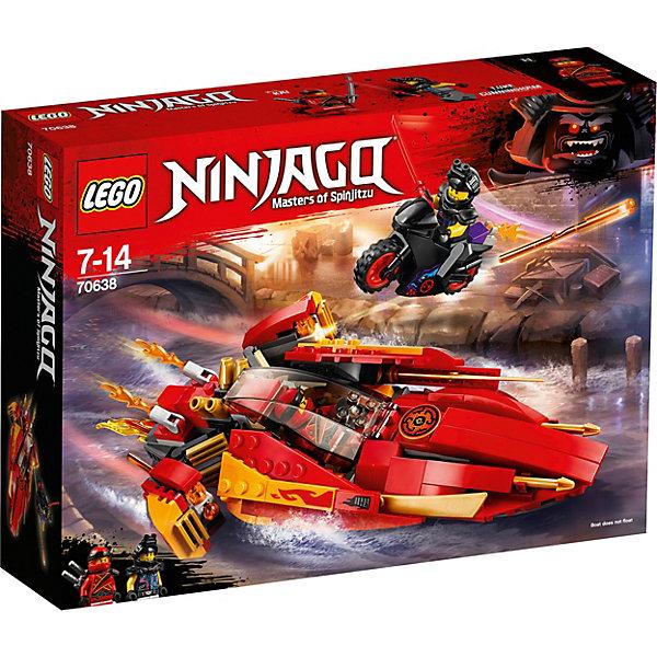 Конструктор LEGO Ninjago 70638: Катана V11LEGO NINJAGO<br>Характеристики товара:<br><br>• возраст: от 7 лет;<br>• серия LEGO: Ninjago;<br>• материал: пластик;<br>• количество деталей: 257 шт.;<br>• количество минифигурок: 2;<br>• в наборе: катер, байк, 2 катаны Кая, катана Люка, 2 пламени выхлопа катера, пламя выхлопа байка, 2 снаряда для пружинных шутеров;<br>• размер катера: 5х20х8 см;<br>• размер байка: 5х6х2 см;<br>• размер упаковки: 19х26х6 см;<br>• вес упаковки: 354 гр.;<br>• страна бренда: Дания.<br><br>Из деталей конструктора LEGO Ninjago: «Катана V11» собирается красочный скоростной катер с языками пламени и быстрый мотоцикл Люка Каннигема.<br><br>Фигурки Кая и Люка помещаются на свои места в транспорте и начинают погоню. Герои владеют холодным оружием и готовы сразиться друг с другом.<br><br>Особенности и функционал:<br><br>• панель кабины и капот катера открываются;<br>• боковые панели откидываются, выдвигаются двигатели;<br>• подходит для использования с другими наборами серии LEGO Ninjago.<br><br>Конструктор LEGO Ninjago 70638: «Катана V11» можно купить в нашем интернет-магазине.<br>Ширина мм: 263; Глубина мм: 190; Высота мм: 66; Вес г: 354; Возраст от месяцев: 84; Возраст до месяцев: 168; Пол: Мужской; Возраст: Детский; SKU: 7221544;
