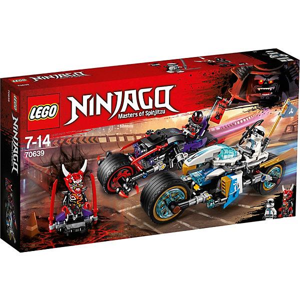 Конструктор LEGO Ninjago 70639: Уличная погоняLEGO NINJAGO<br>Характеристики товара:<br><br>• возраст: от 7 лет;<br>• серия LEGO: Ninjago;<br>• материал: пластик;<br>• количество деталей: 308 шт.;<br>• количество минифигурок: 2;<br>• в наборе: фигурка Они-маски Возмездия на подиуме, мотоцикл Зейна, Они-байк Мистера Э, дрон Зейна, 4 шипа передних колес, 5 шипов откидного оружия байка, лук со стрелой, 2 катаны Мистера Э, 2 катаны Зейна, 2 катаны Они-маски Возмездия, 2 флага с флагштоками;<br>• размер мотоцикла: 9х17х6 см;<br>• размер Они-байка: 9х18х7 см;<br>• размер упаковки: 19х35х5 см;<br>• вес упаковки: 440 гр.;<br>• страна бренда: Дания.<br><br>Собранный конструктор LEGO Ninjago: «Уличная погоня» представляет сцену борьбы на мотоциклах между Зейном и Мистером Э.<br><br>Фигурки помещаются на свои места в транспорте и начинают погоню. Герои владеют холодным оружием и готовы сразиться друг с другом.<br><br>Мотоциклы имеют оригинальный красочный дизайн, на каждом расположен флаг героя. Мотоциклы функциональны в использовании, элементы детализированы. Набор выполнен из качественного безопасного пластика. <br><br>Особенности и функционал:<br><br>• оба мотоцикла оснащены откидным оружием по бокам;<br>• транспорт Зейна имеет съемный боевой дрон;<br>• ускорители дрона откидываются в стороны;<br>• подходит для использования с другими наборами серии LEGO Ninjago.<br><br>Конструктор LEGO Ninjago 70639: «Уличная погоня» можно купить в нашем интернет-магазине.<br>Ширина мм: 358; Глубина мм: 190; Высота мм: 63; Вес г: 423; Возраст от месяцев: 84; Возраст до месяцев: 168; Пол: Мужской; Возраст: Детский; SKU: 7221545;