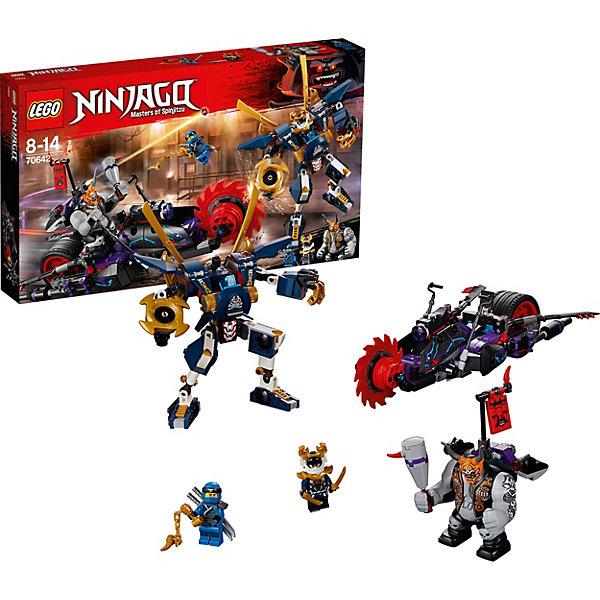 Конструктор LEGO Ninjago 70642: Киллоу против Самурая ИксLEGO NINJAGO<br>Характеристики товара:<br><br>• возраст: от 8 лет;<br>• серия LEGO: Ninjago;<br>• материал: пластик;<br>• количество деталей: 556 шт.;<br>• количество минифигурок: 2;<br>• в наборе: фигурка Киллоу, робот Самурая Икс, мотоцикл Киллоу, скейтборд, 2 катаны Джея, 2 катаны Самурая Икс, нунчаки, шипастая дубина;<br>• размер Самурая Икс: 15х7х8 см;<br>• размер мотоцикла: 8х32х10 см;<br>• размер упаковки: 28х48х6 см;<br>• вес упаковки: 838 гр.;<br>• страна бренда: Дания.<br><br>Собранный конструктор LEGO Ninjago: «Киллоу против Самурая Икс» представляет сцену, в которой злодей Киллоу использует свой новый опасный мотоцикл для коварных злодеяний. <br><br>Для сюжетной игры против врага в наборе есть все необходимое: фигурки Самурая Икс и Джея, их оружие и мощный робот с кабиной для самруя. Набор открывает простор для воображения ребенка. Конструктор выполнен из прочного безопасного пластика.<br><br>Особенности и функционал:<br><br>• диск с лезвиями у мотоцикла вращается;<br>• с боков мотоцикла имеются откидные лезвия;<br>• кабина пилота у робота открывается;<br>• руки и ноги робота подвижны, при нажатии на кнопку из руки выстреливает заряд, на другой руке вращающиеся лезвие;<br>• подходит для использования с другими наборами серии LEGO Ninjago.<br><br>Конструктор LEGO Ninjago 70642: «Киллоу против Самурая Икс» можно купить в нашем интернет-магазине.<br>Ширина мм: 481; Глубина мм: 284; Высота мм: 71; Вес г: 832; Возраст от месяцев: 96; Возраст до месяцев: 168; Пол: Мужской; Возраст: Детский; SKU: 7221548;