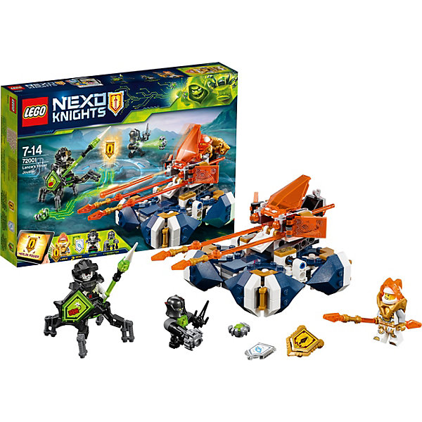 Конструктор LEGO Nexo Knights 72001: Летающая турнирная машина ЛансаLEGO NEXO KNIGHTS<br>Характеристики товара:<br><br>• возраст: от 7 лет;<br>• серия LEGO: Nexo Knights;<br>• материал: пластик;<br>• количество деталей: 217 шт.;<br>• в наборе: летающая турнирная машина, копье, щиты, трезубец, вирусы;<br>• количество минифигурок: 3;<br>• размер турнирной машины: 10х16х10 см;<br>• размер упаковки: 19х26х4 см;<br>• вес упаковки: 276 гр.;<br>• страна изготовитель: Дания.<br><br>Из конструктора LEGO Nexo Knights: «Летающая турнирная машина Ланса» можно собрать игровую сцену, в которой город Найтония подвергся нападению Цезаря и его прислужника. Лансу предстоит защищаться от вирусных существ и Кибербайтового дроида Денниса.<br><br>Фигурки оснащены оружием. Набор открывает простор для фантазии ребенка. Элементы конструктора детализированы, выполнены в ярких цветах из безопасного и прочного пластика.<br><br>Особенности и функционал:<br><br>• корпус машины крутится на 180 градусов,машина выстреливает копьем;<br>• в турнирной машине есть место пилота;<br>• дроид стреляет вирусами при нажатии на механизм;<br>• имеются 3 щита: «Мощь динамита», «Алмазное копье», «Копье Мерлока»;<br>• подходит для использования с другими наборами серии LEGO Nexo Knights.<br><br>Конструктор LEGO Nexo Knights 72001: «Летающая турнирная машина Ланса» можно купить в нашем интернет-магазине.<br>Ширина мм: 266; Глубина мм: 188; Высота мм: 50; Вес г: 275; Возраст от месяцев: 84; Возраст до месяцев: 168; Пол: Мужской; Возраст: Детский; SKU: 7221550;