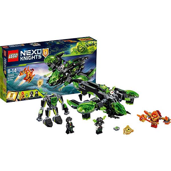 Конструктор LEGO Nexo Knights 72003: Неистовый бомбардировщикLEGO NEXO KNIGHTS<br>Характеристики товара:<br><br>• возраст: от 8 лет;<br>• серия LEGO: Nexo Knights;<br>• материал: пластик;<br>• количество деталей: 369 шт.;<br>• в наборе: бомбардировщик, булава, щит, реактивный ранец, вирус;<br>• количество минифигурок: 3;<br>• размер бомбардировщика: 8х24х22 см;<br>• размер упаковки: 19х35х5 см;<br>• вес упаковки: 466 гр.;<br>• страна изготовитель: Дания.<br><br>Конструктор LEGO Nexo Knights: «Неистовый бомбардировщик» представляет сцену сражения принцессы Мэйси против преспешников Монстрокса на боевой летающей машине.  <br><br>Набор открывает простор для фантазии ребенка. Элементы конструктора детализированы, выполнены в ярких цветах из безопасного и прочного пластика.<br><br>Особенности и функционал:<br><br>• подвижные крылья бомбардировщика;<br>• Вайро-костюм крепится к истребителю;<br>• на корпусе летающей машины имеется съемный крылатый глаз для преследований;<br>• при повороте маховиков пушки на крыльях стреляют;<br>• у робота пожвижные части тела;<br>• имеются 2 щита NEXO-сил: «Удар с небес», «Булава Мерлока»;<br>• подходит для использования с другими наборами серии LEGO Nexo Knights.<br><br>Конструктор LEGO Nexo Knights 72003: «Неистовый бомбардировщик» можно купить в нашем интернет-магазине.<br>Ширина мм: 356; Глубина мм: 190; Высота мм: 65; Вес г: 455; Возраст от месяцев: 96; Возраст до месяцев: 168; Пол: Мужской; Возраст: Детский; SKU: 7221552;