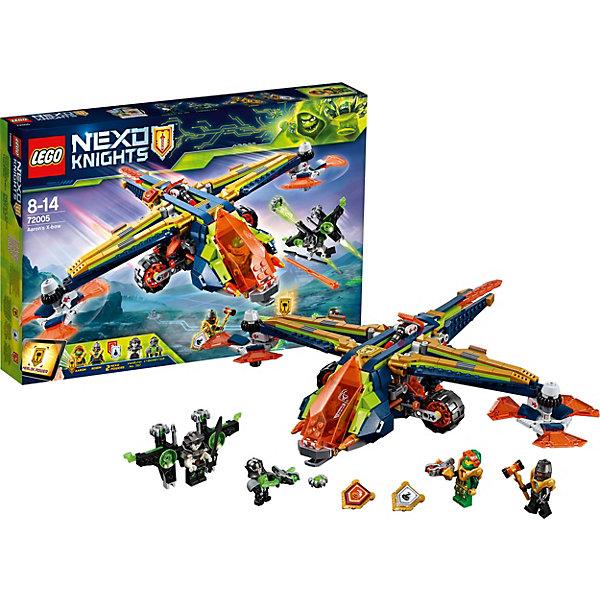 Конструктор LEGO Nexo Knights 72005: Аэро-арбалет АаронаLEGO NEXO KNIGHTS<br>Характеристики товара:<br><br>• возраст: от 8 лет;<br>• серия LEGO: Nexo Knights;<br>• материал: пластик;<br>• количество деталей: 569 шт.;<br>• в наборе: аэро-арбалет Аарона, флайер Ванбайтера, щит, копье, молот, ракеты;<br>• количество минифигурок: 4;<br>• размер арбалета: 9х33х41 см;<br>• размер упаковки: 26х38х5 см;<br>• вес упаковки: 726 гр.;<br>• страна изготовитель: Дания.<br><br>Конструктор LEGO Nexo Knights: «Аэро-арбалет Аарона» представляет сцену сражения Аарона и Робина против Байтеров, которые повсюду распространяют опасный вирус. Фигурки оснащены оружием и функциональной техникой для борьбы.<br><br>Набор открывает простор для фантазии ребенка. Элементы конструктора детализированы, выполнены в ярких цветах из безопасного и прочного пластика.<br><br>Особенности и функционал:<br><br>• подвижные лопасти арбалета;<br>• арбалет с функцией выстрела;<br>• вездеход с фигуркой отсоединяются от летающей машины;<br>• фигурки стреляют из миниарбалетов;<br>• имеются 3 щита NEXO-сил: «Веселая тыква», «Гусиный шаг», «Молот Мерлока»;<br>• подходит для использования с другими наборами серии LEGO Nexo Knights.<br><br>Конструктор LEGO Nexo Knights 72005: «Аэро-арбалет Аарона» можно купить в нашем интернет-магазине.<br>Ширина мм: 389; Глубина мм: 269; Высота мм: 62; Вес г: 723; Возраст от месяцев: 96; Возраст до месяцев: 168; Пол: Мужской; Возраст: Детский; SKU: 7221554;