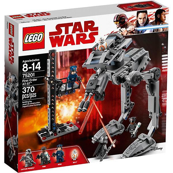 Конструктор LEGO Star Wars TM 75201: Вездеход AT-ST Первого ОрденаLEGO<br>Характеристики товара:<br><br>• возраст: от 8 лет;<br>• серия LEGO: Star Wars TM;<br>• материал: пластик;<br>• количество деталей: 370 шт.;<br>• в наборе: вездеход AT-ST Первого Ордена, подвесной лифт, пушки минифигурок, снаряды для шутера;<br>• количество минифигурок: 4;<br>• размер вездехода: 22х20х13 см;<br>• размер упаковки: 26х28х5 см;<br>• вес упаковки: 491 гр.;<br>• страна изготовитель: Дания.<br><br>Конструктор LEGO Star Wars TM: «Вездеход AT-ST Первого Ордена» представляет игровую сцену по мотивам фильма «Звездные войны: Последний джедай». Финни, Роуз и BB-8 намерены захватить вездеход AT-ST, но на их пути встал капитан Фазма.<br><br>Набор открывает простор для фантазии ребенка. Элементы конструктора детализированы, выполнены в ярких цветах из безопасного и прочного пластика.<br><br>Особенности и функционал:<br><br>• башня вездехода поворачивается рычагом;<br>• положение ног робота регулируется;<br>• имеется место пилота для управления AT-ST;<br>• рабочие пушки робота;<br>• рабочий лифт на платформе;<br>• подходит для использования с другими наборами серии LEGO Star Wars TM.<br><br>Конструктор LEGO Star Wars 75201: «Вездеход AT-ST Первого Ордена» можно купить в нашем интернет-магазине.<br>Ширина мм: 284; Глубина мм: 259; Высота мм: 62; Вес г: 488; Возраст от месяцев: 96; Возраст до месяцев: 168; Пол: Мужской; Возраст: Детский; SKU: 7221564;