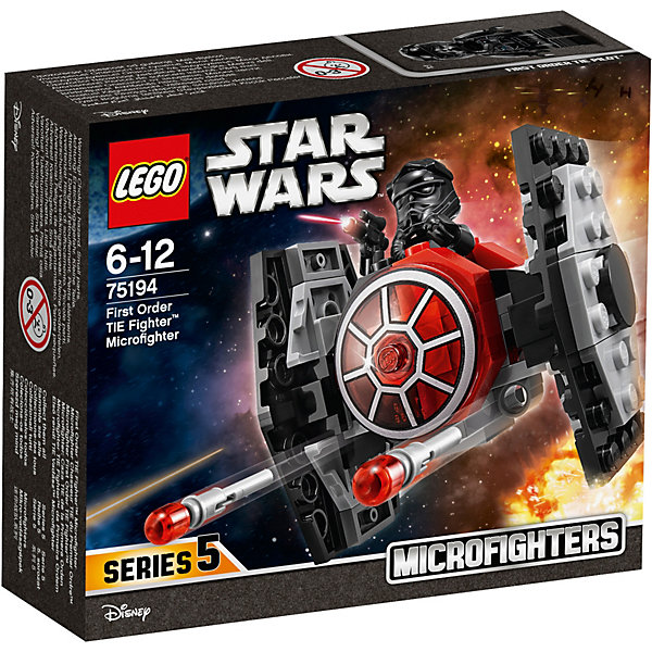 LEGO Star Wars 75194: Микрофайтер Истребитель СИД Первого ОрденаLEGO<br>Характеристики товара:<br><br>• возраст: от 6 лет;<br>• серия LEGO: Star Wars;<br>• материал: пластик;<br>• количество деталей: 91 шт.;<br>• количество минифигурок: 1 минифигурка штурмовика Первого ордена;<br>• размер упаковки: 6х12х14 см;<br>• страна производитель: Чехия, Дания.<br><br>Воссоздайте битву на истребителях из вселенной Звездных войн с этим небольшим замечательным набором.<br><br>Истребитель СИД небольшой, а значит очень манёвренный. Он состоит преимущественно из серых и черных деталей с добавлением красных элементов. В нижней части корпуса находятся два пружинных шутера. При нажатии на них они выстреливают двумя небольшими красными детальками.<br><br>В кабине пилота на сидение можно усадить минифирку бойца Первого ордена, в руках которого бластерный пистолет.<br><br>Особенности:<br><br>• небольшую конструкцию удобно держать в руке;<br>• 2 стреляющие пушки на корпусе микрофайтера;<br>• фигурку штурмовика можно усадить на сидение пилота.<br><br>LEGO Star Wars 75194: Микрофайтер Истребитель СИД Первого Ордена можно купить в нашем интернет-магазине.<br>Ширина мм: 144; Глубина мм: 121; Высота мм: 48; Вес г: 104; Возраст от месяцев: 72; Возраст до месяцев: 144; Пол: Мужской; Возраст: Детский; SKU: 7221574;