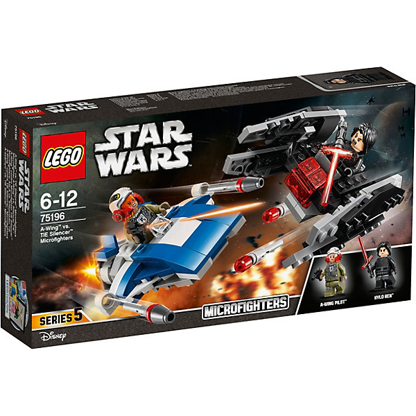 LEGO Star Wars 75196: Истребитель типа A против бесшумного истребителя СИДLEGO<br>Характеристики товара:<br><br>• возраст: от 6 лет;<br>• серия LEGO: Star Wars;<br>• материал: пластик;<br>• количество деталей: 188 шт.;<br>• количество минифигурок: 2;<br>• размер упаковки: 6х12х14 см;<br>• страна производитель: Чехия, Дания.<br><br>Набор состоит из 188 деталей и включает 2 минифигурки.<br><br>Истребитель типа А небольшой, а значит очень манёвренный. По бокам корпуса истребителя расположены пушки. В кабине пилота на сидение можно усадить минифирку девушки-пилота из отряда Сопротивления, в руках которой бластерный пистолет.<br><br>Истребитель Кайло Рена, несмотря на его размер, выглядит очень эффектно. В нижней части корпуса с двух сторон истребителя расположены пружинные пушки, которые выстреливают небольшими красными детальками при нажатии. В кабине пилота на сидение можно усадить минифирку Кайло Рена. В руках у него оружие для дополнительной атаки: световой меч.<br><br>Также из деталей набора можно собрать небольшую станцию Сопротивления для ремонта истребителей.<br><br>Особенности и игровой функционал:<br><br>• небольшую конструкцию удобно держать в руке;<br>• стреляющие пушки на корпусах истребителей;<br>• минифигурки можно усадить на сидения пилота.<br><br>LEGO Star Wars 75196: Истребитель типа A против бесшумного истребителя СИД можно купить в нашем интернет-магазине.<br>Ширина мм: 264; Глубина мм: 144; Высота мм: 53; Вес г: 212; Возраст от месяцев: 72; Возраст до месяцев: 144; Пол: Мужской; Возраст: Детский; SKU: 7221576;