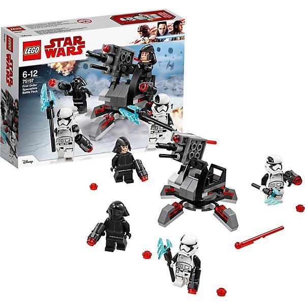 LEGO Star Wars 75197: Боевой набор специалистов Первого ОрденаLEGO<br>Характеристики товара:<br><br>• возраст: от 6 лет;<br>• серия LEGO: Star Wars;<br>• материал: пластик;<br>• количество деталей: 108 шт.;<br>• количество минифигурок: 4;<br>• размер упаковки: 6х14х19 см;<br>• страна производитель: Чехия, Дания.<br><br>Набор состоит из 108 деталей и включает 4 минифигурки. <br><br>Бойцы Первого Ордена готовы к бою. Из деталей набора конструктора можно собрать специальную установку, которая вращается на 360 градусов. Пять ножек, на которых она стоит, подвижны, за счет чего можно изменять угол наклона установки. Помимо подвижности конструкции, подвижна и расположенная в ней пушка. Минифигурку стрелка можно поставить на его специальное место, откуда ему будет удобно вести бой. Отстреливаться помогает другой боец. <br><br>Оружие в данном наборе очень интересное. Бластерные пистолеты стреляют небольшими красными детальками при нажатии на них. А лезвия топоров сделаны из полупрозрачных голубых деталей и выглядят очень эффектно.<br><br>Особенности и игровой функционал:<br><br>• вращающаяся установка на пяти ножках;<br>• ножки установки подвижны и меняют ее угол наклона;<br>• вращающаяся пушка на установке;<br>• место для стрелка и крепление для его оружия на установке;<br>• бластерные пистолеты стреляют при нажатии.<br><br>LEGO Star Wars 75197: Боевой набор специалистов Первого Ордена можно купить в нашем интернет-магазине.<br>Ширина мм: 192; Глубина мм: 144; Высота мм: 50; Вес г: 121; Возраст от месяцев: 72; Возраст до месяцев: 144; Пол: Мужской; Возраст: Детский; SKU: 7221577;