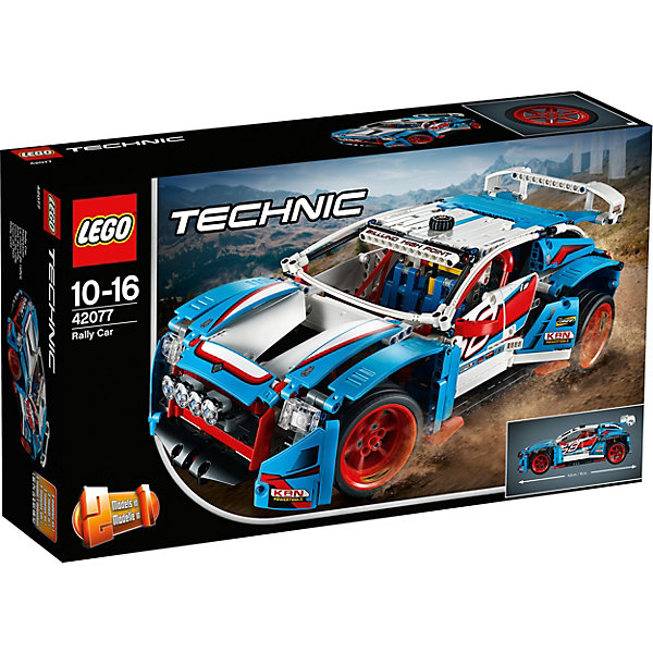Конструктор LEGO Technic 42077: Гоночный автомобильLEGO<br>Характеристики товара:<br><br>• возраст: от 10 лет;<br>• серия LEGO: Technic;<br>• материал: пластик;<br>• количество деталей: 1005 шт.;<br>• размер ралли автомобиля: 24х42х21 см;<br>• размер багги: 16х36х22 см;<br>• размер упаковки: 28х48х11 см;<br>• вес упаковки: 1,7 кг.;<br>• страна изготовитель: Дания.<br><br>Из деталей конструктора LEGO Technic: «Гоночный автомобиль» можно собрать раллийный кар или багги. Модель детализирована, имеются мощные колеса, спойлер и крылья. Дверки машины открываются, внутри оборудованные гоночные сиденья.<br><br>Корпус модели выполнен в ярких цветах. Элементы надежно скрепляются между собой. Набор выполнен из качественного безопасного пластика.<br><br>Особенности и функционал:<br><br>• конструктор 2 в 1: Rally car/ багги;<br>• рабочие рулевой механизм и подвеска;<br>• через двигатель видно поршни;<br>• открывающиеся капот и двери.<br><br>Конструктор LEGO Technic 42077: «Гоночный автомобиль» можно купить в нашем интернет-магазине.<br>Ширина мм: 483; Глубина мм: 289; Высота мм: 124; Вес г: 1703; Возраст от месяцев: 120; Возраст до месяцев: 192; Пол: Мужской; Возраст: Детский; SKU: 7221587;