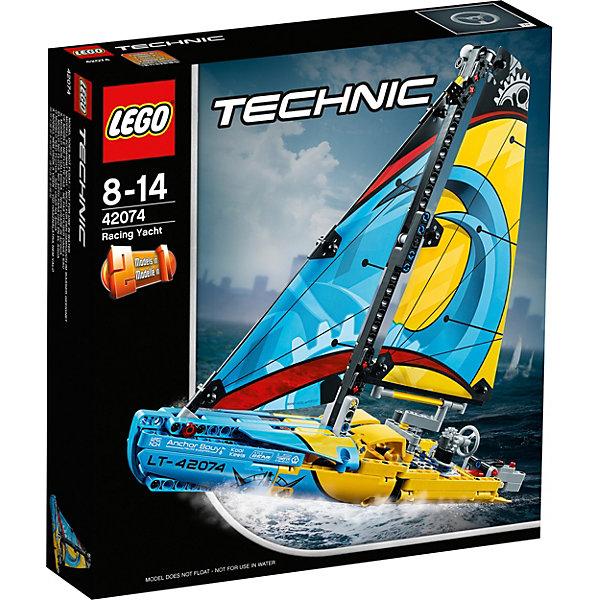 Конструктор LEGO Technic 42074: Гоночная яхтаLEGO<br>Характеристики товара:<br><br>• возраст: от 8 лет;<br>• серия LEGO: Technic;<br>• материал: пластик;<br>• количество деталей: 330 шт.;<br>• размер яхты: 29х36х8 см;<br>• размер катамарана: 27х31х11 см;<br>• размер упаковки: 26х28х5 см;<br>• вес упаковки: 586 гр.;<br>• страна бренда: Дания.<br><br>Из деталей конструктора LEGO Technic: «Гоночная яхта» можно собрать реалистичную копию настоящей яхты. Модель обладает красочными парусами с линиями и лебедками, детализированным корпусом, рулевым колесом и румпелем. Кроме того, яхту можно трансформировать в катамаран. Набор выполнен из качественного безопасного пластика.<br><br>Особенности и функционал:<br><br>• конструктор 2 в 1: яхта/катамаран;<br>• не плавает;<br>• рабочий штурвал и парус.<br><br>Конструктор LEGO Technic 42074: «Гоночная яхта» можно купить в нашем интернет-магазине.<br>Ширина мм: 265; Глубина мм: 284; Высота мм: 63; Вес г: 593; Возраст от месяцев: 96; Возраст до месяцев: 168; Пол: Мужской; Возраст: Детский; SKU: 7221593;