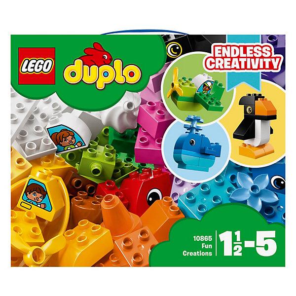 Конструктор LEGO DUPLO 10865: Весёлые кубикиLEGO<br>Характеристики товара:<br><br>• возраст: от 1,5 лет;<br>• серия LEGO: Duplo;<br>• материал: пластик;<br>• количество деталей: 70 шт.;<br>• размер упаковки: 22х26х14 см;<br>• вес упаковки: 834 гр.;<br>• страна бренда: Дания.<br><br>Конструктор LEGO Duplo: «Веселые кубики» содержит крупные детали, предназначенные для самых маленьких строителей. Сборка осуществляется как по инструкции, так и не ограничена фантазией ребенка. Кирпичи разной формы, детали с глазами и многообразие цветов позволят создать уникальную игрушку.<br><br>Набор развивает мелкую моторику, воображение и усидчивость ребенка. Элементы конструктора выполнены в ярких цветах из безопасного и прочного пластика.<br><br>Особенности и функционал:<br><br>• включает инструкцию с идеями для сборки;<br>• из деталей можно собрать животных, предметы, транспорт;<br>• подходит для использования с другими наборами LEGO Duplo.<br><br>Конструктор LEGO Duplo 10865: «Веселые кубики» можно купить в нашем интернет-магазине.<br>Ширина мм: 266; Глубина мм: 225; Высота мм: 149; Вес г: 831; Возраст от месяцев: 18; Возраст до месяцев: 36; Пол: Унисекс; Возраст: Детский; SKU: 7221596;