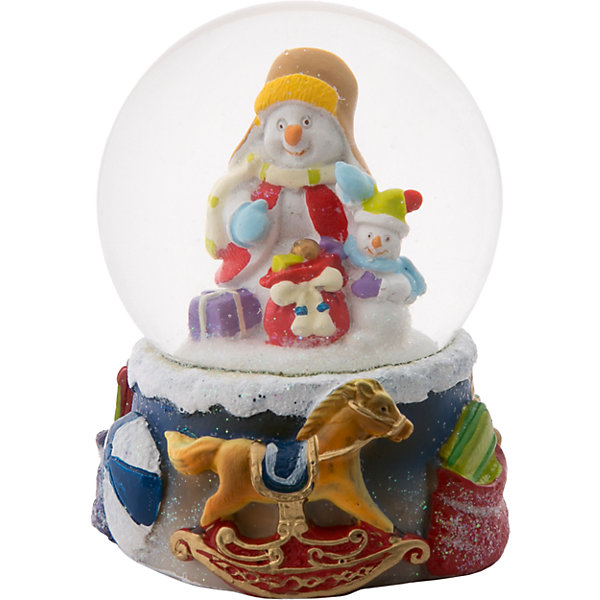 Снежный шар Magic Time Два снеговикаНовинки Новый Год<br>Характеристики:<br>• возраст: от 2 лет;<br>• материал: полирезина;<br>• материал шара: стекло;<br>• размер: 9х7х7 см;<br>• вес: 317 гр;<br>• страна производитель: Китай;<br>• бренд: Magic Time;<br>• тип упаковки: блистерная.<br>Новогодняя фигурка из полирезины с водяным шаром из стекла бренда Magic Time – это оригинальный подарок, который станет украшением интерьера любого дома. Игрушка изготовлена из безопасной для здоровья полирезины. Шар сделан из толстого стекла, которое не просто разбить, по этому такую игрушку смело можно давать детям от двух лет.<br>На цветной основе из нескольких детских игрушек, таких как лошадка и мячик. Сверху плотно установлен стеклянный шар, внутри которого два снеговичка и мешок с подарками. При движении внутри шара начинает кружиться искусственный снег. Именно из-за этого эффекта статуэтки с шаром стали популярны во всем мире. Такая статуэтка станет хорошим новогодним подарком для ребенка. Кроме того, впоследствии вы сможете подарить целую коллекцию таких игрушек.<br>Так же статуэтка может стать отличным сувенирным подарком не только детям, но и взрослым. Благодаря плотной упаковку при ударе игрушка не сломается, а это значит, что статуэтку можно смело отправлять почтой. Стеклянный шар не повредится, при этом основа из твердой полирезины так же останется целой.<br>Новогоднюю фигурку из полирезины с водяным шаром из стекла можно купить в нашем интернет-магазине.<br>Ширина мм: 90; Глубина мм: 70; Высота мм: 70; Вес г: 317; Возраст от месяцев: 24; Возраст до месяцев: 2147483647; Пол: Унисекс; Возраст: Детский; SKU: 7223797;