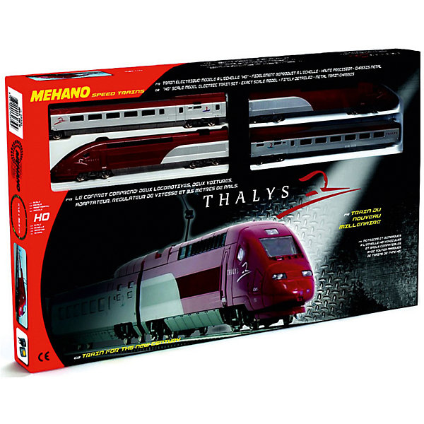 Железная дорога Mehano ThaylsЖелезные дороги<br>Внимание! На нашем сайте вы сможете собрать стартовый набор Mehano по своему усмотрению! Локомотив, вагоны, индивидуальный путь с мостом и многое другое по специальной цене. Спрашивайте у менеджеров! <br><br>Железная дорога «MEHANO» Thalys - отличная модель скоростного состава, идеальный подарок. Обтекаемые линии, темно-алый цвет, быстрое движение поезда делают его похожим на механическую птицу, которая летит по рельсам, будто не касаясь их. Это стремительное изящество вписано в рамки рельсового овала, но при желании железнодорожное полотно можно увеличить, ведь все элементы железных дорог «MEHANO» совместимы друг с другом.<br>Рельсы металлические, колеса паровозов из металла, Очень качественная игрушка.<br>Характеристики железной дороги «MEHANO» Thalys:<br>• масштаб 1:87;<br>• работает от электрической сети через адаптер – 220 вольт;<br>• возможность изменения скорости движения;<br>• размер собранного железнодорожного полотна: 117,5 см х 95,5 см;<br>• ширина колеи: 16,5 мм;<br>• размер упаковки: 64 x 38,5 x 34,5 см;<br>• все элементы комплекта совместимы с другими сборными моделями железной дороги «MEHANO», так что юный машинист сможет прокладывать различные маршруты, строить новые станции и придумывать неповторимый, свой собственный уникальный ландшафт.<br>В комплекте:<br>• 1 ведущий локомотив Thalys, 1 ведомый локомотив Thalys, 1 вагон первого класса, 1 вагон второго класса;<br>2,85 метров железнодорожного полотна: <br>• 11 радиальных рельс;<br>• 1 радиальный рельс/контактный;<br>• 1 сетевой адаптер;<br>• 1 пульт-контроллер;<br>• 13 клипс/соединителей;<br>• подробная инструкциями по сборке и управлению (с иллюстрациями)<br><br>Ширина мм: 640<br>Глубина мм: 380<br>Высота мм: 340<br>Вес г: 1500<br>Возраст от месяцев: 60<br>Возраст до месяцев: 2147483647<br>Пол: Унисекс<br>Возраст: Детский<br>SKU: 7223885