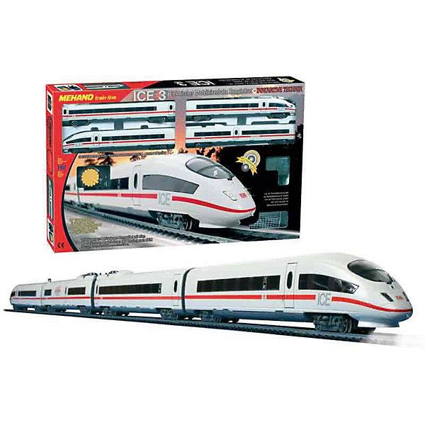 Железная дорога Mehano ICE 3. СапсанЖелезные дороги<br>Внимание! На нашем сайте вы сможете собрать стартовый набор Mehano по своему усмотрению! Локомотив, вагоны, индивидуальный путь с мостом и многое другое по специальной цене. Спрашивайте у менеджеров! <br>Обзор покупателя <br><br>Железная дорога «MEHANO» ICE3 - это копия знаменитого германского скоростного состава ICE3, выполненная в миниатюре. Обтекаемые линии, белоснежный цвет в сочетании с тонкой алой полосой, быстрое движение поезда делают его похожим на механическую птицу, которая летит по рельсам, будто не касаясь их. Это стремительное изящество вписано в рамки рельсового овала, но при желании железнодорожное полотно можно увеличить, ведь все элементы железных дорог «MEHANO» совместимы друг с другом.<br>Рельсы металлические, колеса паровозов из металла.<br>Характеристики железной дороги «MEHANO» ICE3:<br>• масштаб 1:87;<br>• работает от электрической сети через адаптер – 220 вольт;<br>• максимальная скорость – 6 км/ч, возможность изменения скорости движения;<br>• размер собранного железнодорожного полотна: 117,5 см х 95,5 см;<br>• ширина колеи: 16,5 мм;<br>• размер упаковки: 64 x 38,5 x 34,5 см;<br>• все элементы комплекта совместимы с другими сборными моделями железной дороги «MEHANO», так что юный машинист сможет прокладывать различные маршруты, строить новые станции и придумывать неповторимый, свой собственный уникальный ландшафт.<br>В комплекте:<br>• 1 ведущий локомотив ICE3, 1 ведомый локомотив ICE3, 1 вагон первого класса, 1 вагон второго класса;<br>3,35 метров железнодорожного полотна: <br>• 11 радиальных рельс;<br>• 1 радиальный рельс/контактный;<br>• 2 прямые рельсы;<br>• 1 сетевой адаптер;<br>• 1 пульт-контроллер;<br>• 15 клипс/соединителей;<br>• подробная инструкциями по сборке и управлению (с иллюстрациями)<br>Ширина мм: 640; Глубина мм: 380; Высота мм: 350; Вес г: 2500; Возраст от месяцев: 60; Возраст до месяцев: 2147483647; Пол: Унисекс; Возраст: Детский; SKU: 7223888;