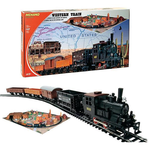Железная дорога Mehano Western Train с ландшафтомЖелезные дороги<br>Внимание! На нашем сайте вы сможете собрать стартовый набор Mehano по своему усмотрению! Локомотив, вагоны, индивидуальный путь с мостом и многое другое по специальной цене. Спрашивайте у менеджеров! <br><br>Железная дорога «MEHANO» Western train - это 3,35 метра железнодорожного полотна. Во время пути поезд минует городские улицы с жилыми и хозяйственными постройками, пригород с зарослями кактуса, глубокий тоннель через высокий горный массив. За паровозом и вагонами следят лошади, запряженные в конные экипажи, и наверное, из каждого окна следит за проезжающим составом невидимая пара глаз... Ландшафт, который интересно будет собирать, готовясь к великому путешествию, воссоздаст картину, много раз проигранную в фильмах о Диком Западе.<br>Характеристики железной дороги «MEHANO» Western train:<br>• масштаб 1:87;<br>• работает от электрической сети через адаптер – 220 вольт;<br>• возможность изменения скорости движения;<br>• размер собранного железнодорожного полотна: 117,5 x 95,5 см;<br>• размер ландшафта в сборе: 125 х 100 см;<br>• ширина колеи: 16,5 мм;<br>• размер упаковки: 82 x 57 x 10 см.<br>Все элементы комплекта совместимы с другими сборными моделями железной дороги «MEHANO», таким образом юный машинист запросто сможет возводить новые станции, прокладывать совершенно новые маршруты, которых нет ни на одной карте, воссоздавать небывалые ландшафты, уникальные и никем не виданные ранее.<br>В комплекте:<br>• 1 локомотив, 4 вагона;<br>• рельефный ландшафт с тоннелем, домами и постройками, растениями;<br>2,85 метра железнодорожного полотна:<br>• 11 радиальных рельс, <br>• 1 радиальный рельс/контактный;<br>• 1 сетевой адаптер; <br>• 1 пульт-контроллер; <br>• 13 клипс/соединителей;<br>• подробная инструкциями по сборке и управлению (с иллюстрациями).<br>Ширина мм: 820; Глубина мм: 570; Высота мм: 100; Вес г: 2500; Возраст от месяцев: 36; Возраст до месяцев: 2147483647; Пол: Унисекс; Возраст: Детский; SK