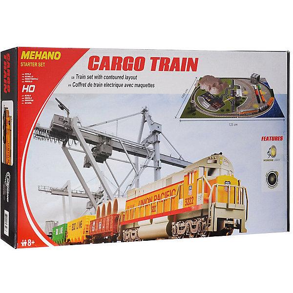 Железная дорога Mehano Cargo Train с ландшафтомЖелезные дороги<br>Внимание! На нашем сайте вы сможете собрать стартовый набор Mehano по своему усмотрению! Локомотив, вагоны, индивидуальный путь с мостом и многое другое по специальной цене. Спрашивайте у менеджеров! <br><br><br>Оставаясь одной из наиболее желанных игрушек для большинства мальчишек и даже взрослых коллекционеров, железная дорога с дистанционным управлением неподвластна влиянию моды и времени. Для сторонников технологических новинок создаются модели современных скоростных составов, а ценители истории могут выбрать подходящий комплект, в точности воссоздающий легендарные локомотивы и платформы прошлых лет. <br>Одним из таких уникальных составов стал Cargo Train (Товарный поезд) от известного производителя железных дорог «Mehano». Выполненная с уникальной архитектурной точностью и детализацией, модель состава Cargo Train относится к настоящим шедеврам индустрии моделирования. Копия рабочего состава безукоризненно отображает все функциональные возможности и локомотива, и каждой из подвижных платформ, адаптированных для транспортации различных грузов. На пути товарного поезда встречается контрольно-пропускной пункт, башни, стоянка авто, деревья и зеленые лужайки, контейнера с грузами, ждущие отправки и, наконец, большой капитальный тоннель, проложенный сквозь горы и возвышенности.<br><br>Внимание! Вы можете создать дополнительное полукольцо. Вам потребуется 2 стрелки, комплект радиальных рельс и комплект коротких.<br><br>Характеристики:<br>- рельсы и колеса изготовлены из металла;<br>- размер собранного железнодорожного полотна: 100 х 125 см;<br>- масштаб 1:87;<br>- ширина колеи – 16,5 мм;<br>- наличие реального освещения;<br>- работает от электрической сети через адаптер – 220 вольт;<br>- возможность изменения скорости движения<br>- горит свет при движении;<br>- Полный привод! Ведущие обе оси. Передняя и задняя!<br>Состав набора:<br>- 1 локомотив и 3 вагона;<br>3,35 метров железнодорожного полотна; <br>• 