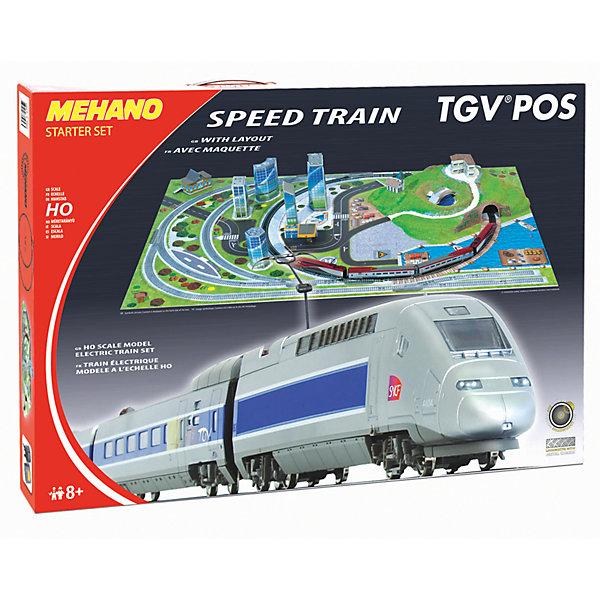 Железная дорога Mehano TGV POS с ландшафтомЖелезные дороги<br>Внимание! На нашем сайте вы сможете собрать стартовый набор Mehano по своему усмотрению! Локомотив, вагоны, индивидуальный путь с мостом и многое другое по специальной цене. Спрашивайте у менеджеров! <br><br>Железная дорога «MEHANO» TGV POS окружена интересным и разнообразным ландшафтом. Фрагменты ландшафта, построек, железнодорожного полотна, вагонов и локомотива имеют крайне высокую степень детализации, что делает игру еще более увлекательной. На пути скоростного поезда встречаются низенькие загородные домики и взмывающее в небо бизнес-центры, живописные озера и пригорки, автодороги и зеленые лужайки, капитальные тоннели, проложенные сквозь горы и возвышенности. Все эти объекты придают игре неповторимое ощущение реальности.<br>Рельсы металлические, колеса паровозов из металла, Очень качественная игрушка. <br>Характеристики железной дороги «MEHANO» TGV POS:<br>• масштаб 1:87;<br>• работает от электрической сети через адаптер – 220 вольт;<br>• размер ландшафта в сборе: 155 х 100 см;<br>• размер овала железнодорожного полотна: 95,5 см;<br>• ширина колеи: 16,5 мм;<br>• размер упаковки: 79 x 55 x 9 см;<br>• все элементы комплекта совместимы с другими сборными моделями железной дороги «MEHANO», так что юный машинист сможет прокладывать различные маршруты, строить новые станции и придумывать неповторимый, свой собственный уникальный ландшафт.<br>В комплекте:<br>• 1 ведущий и 1 ведомый локомотив, 1 вагон первого и 1 второго класса;<br>2,85 метров железнодорожного полотна:<br>• современный ландшафтный комплекс, в т.ч. здания, дороги и различные постройки;<br>• 11 радиальных рельс; <br>• 1 радиальный рельс/контактный;<br>• 1 сетевой адаптер; <br>• 1 пульт-контроллер; <br>• 13 клипс/соединителей;<br>• подробная инструкциями по сборке и управлению (с иллюстрациями).<br>Так же в ландшафт отлично впишется Набор рельс Mehano №13, которые не входят в комплектацию набора!<br><br>Ширина мм: 790<br>Глубина мм: 550<br>Высо