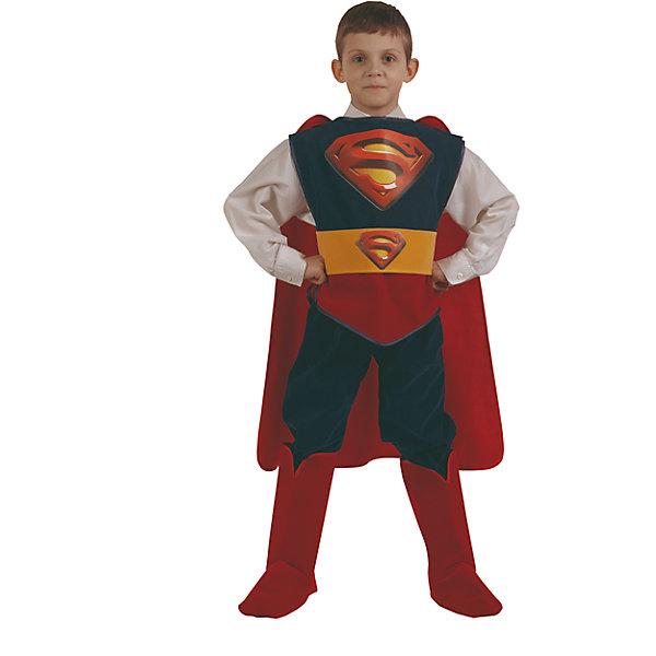 Карнавальный костюм Супермен Батик для мальчикаКарнавальные костюмы для мальчиков<br>Карнавальный костюм Супермен Батик для мальчика<br>Карнавальный костюм (куртка, брюки, накидка, сапоги, пояс)<br>Состав:<br>Полиэстр 100%<br><br>Ширина мм: 450<br>Глубина мм: 80<br>Высота мм: 350<br>Вес г: 250<br>Возраст от месяцев: 48<br>Возраст до месяцев: 60<br>Пол: Мужской<br>Возраст: Детский<br>Размер: 110,122,116<br>SKU: 7224450