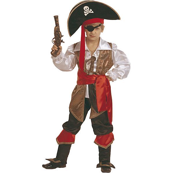 Карнавальный костюм Капитан Флинт Батик для мальчикаКарнавальные костюмы для мальчиков<br>Карнавальный костюм Капитан Флинт Батик для мальчика<br>Карнавальный костюм (рубаха, жилет, бриджи с сапогами, пояс, шляпа, набор пирата,мушкет)<br>Состав:<br>Полиэстр 100%<br><br>Ширина мм: 450<br>Глубина мм: 80<br>Высота мм: 350<br>Вес г: 250<br>Возраст от месяцев: 72<br>Возраст до месяцев: 84<br>Пол: Мужской<br>Возраст: Детский<br>Размер: 122,110,116<br>SKU: 7224462