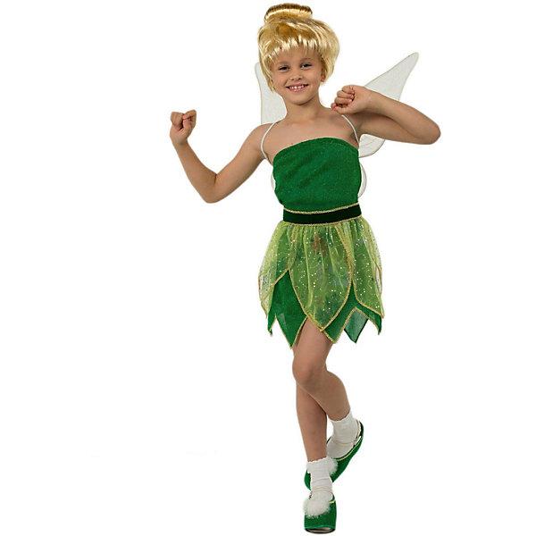 Карнавальный костюм Фея Динь-Динь Батик для девочкиНовинки для праздника<br>Карнавальный костюм Фея Динь-Динь Батик для девочки<br>Карнавальный костюм  (платье, пояс-листочки,башмачки, крылышки,брошь, парик)<br>Состав:<br>Полиэстр 100%<br>Ширина мм: 450; Глубина мм: 80; Высота мм: 350; Вес г: 250; Возраст от месяцев: 48; Возраст до месяцев: 60; Пол: Женский; Возраст: Детский; Размер: 110,116; SKU: 7224470;