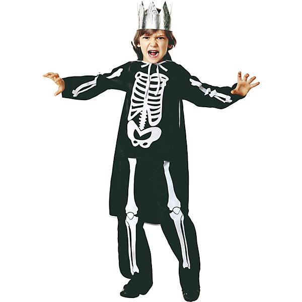 Карнавальный костюм Кащей Бессмертный Батик для мальчикаНовинки для праздника<br>Характеристики товара:<br><br>• цвет: черный<br>• комплектация: куртка, брюки, плащ, корона<br>• материал: текстиль<br>• сезон: круглый год<br>• особенности модели: для праздника<br>• страна бренда: Россия<br>• страна изготовитель: Белоруссия<br><br>Этот набор для ребенка - полноценный наряд для праздника. Детский костюм Кощей Бессмертный сделан из качественного материала. Карнавальный комплект для ребенка оригинальный и удобный.<br><br>Карнавальный костюм «Кощей Бессмертный» Jeanees для мальчика можно купить в нашем интернет-магазине.<br><br>Ширина мм: 450<br>Глубина мм: 80<br>Высота мм: 350<br>Вес г: 250<br>Цвет: черный<br>Возраст от месяцев: 60<br>Возраст до месяцев: 72<br>Пол: Мужской<br>Возраст: Детский<br>Размер: 116,146,128,122<br>SKU: 7224546