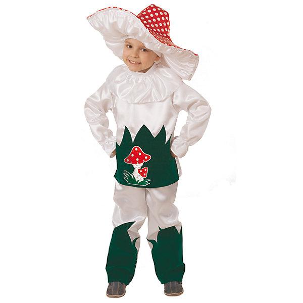 Карнавальный костюм Грибок Батик для мальчикаКарнавальные костюмы для мальчиков<br>Характеристики товара:<br><br>• цвет: белый<br>• комплектация: куртка, брюки, шляпа<br>• материал: текстиль<br>• сезон: круглый год<br>• особенности модели: для праздника<br>• страна бренда: Россия<br>• страна изготовитель: Россия<br><br>Карнавальный костюм Грибок комфортно сидит на ребенке благодаря качественному материалу. Такой набор для ребенка - полноценный наряд для праздника или сценки. Детский костюм Грибок разработан специально для детей. Карнавальный комплект для ребенка оригинальный и удобный.<br><br>Карнавальный костюм «Грибок» Батик для мальчика можно купить в нашем интернет-магазине.<br><br>Ширина мм: 450<br>Глубина мм: 80<br>Высота мм: 350<br>Вес г: 250<br>Цвет: белый<br>Возраст от месяцев: 60<br>Возраст до месяцев: 72<br>Пол: Мужской<br>Возраст: Детский<br>Размер: 116,110<br>SKU: 7224566