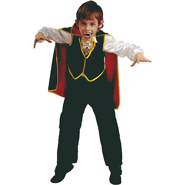 Карнавальный костюм Дракула Батик для мальчикаНовинки для праздника<br>Карнавальный костюм Дракула Батик для мальчика<br>Карнавальный костюм (рубаха с жилетом, брюки, накидка, зубы, медальон) <br>Состав:<br>Полиэстр 100%<br><br>Ширина мм: 450<br>Глубина мм: 80<br>Высота мм: 350<br>Вес г: 250<br>Возраст от месяцев: 84<br>Возраст до месяцев: 96<br>Пол: Мужской<br>Возраст: Детский<br>Размер: 128,146,116,122<br>SKU: 7224569