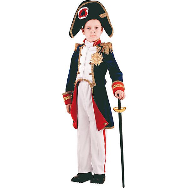 Карнавальный костюм Наполеон Батик для мальчикаКарнавальные костюмы для мальчиков<br>Характеристики товара:<br><br>• цвет: мульти<br>• комплектация: мундир, брюки, шарф, шляпа, шпага<br>• материал: текстиль<br>• сезон: круглый год<br>• особенности модели: для праздника<br>• страна бренда: Россия<br>• страна изготовитель: Россия<br><br>Впечатляющий набор Наполеон для ребенка - полноценный наряд для праздника или сценки. Карнавальный набор Наполеон поможет создать один из самых оригинальных образов. Карнавальный костюм комфортно сидит на детях разного возраста благодаря качественному материалу. <br><br>Карнавальный костюм «Наполеон» Батик для мальчика можно купить в нашем интернет-магазине.<br><br>Ширина мм: 450<br>Глубина мм: 80<br>Высота мм: 350<br>Вес г: 250<br>Цвет: белый<br>Возраст от месяцев: 84<br>Возраст до месяцев: 96<br>Пол: Мужской<br>Возраст: Детский<br>Размер: 128,116,122<br>SKU: 7224581