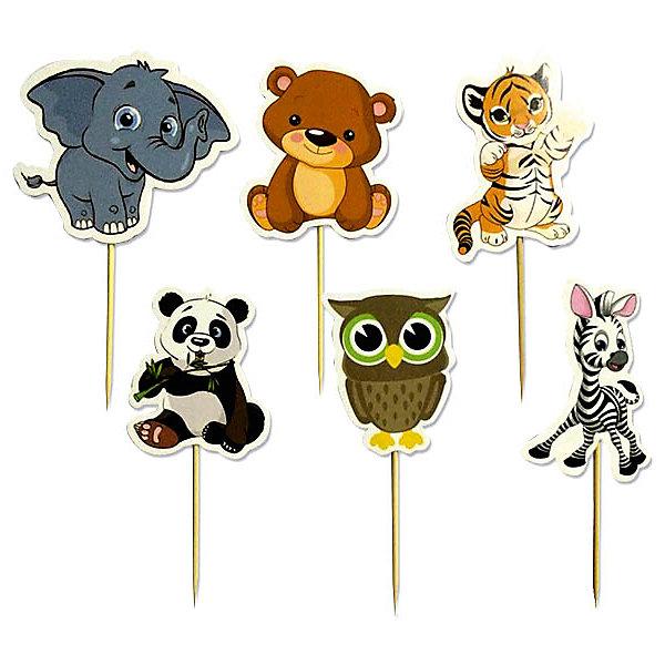 BA Шпажки для канапе/капкейков Веселый зоопарк 6штАксессуары для детского праздника<br>Характеристики:<br><br>• возраст: от 7 лет;<br>• тип игрушки: шпажки;<br>• количество: 6 шт;<br>• вес: 9 гр;<br>• размеры: 0,5х10х16 см;<br>• материал: бумага, дерево;<br>• бренд: Патибум;<br>• страна производитель: Россия.<br><br>BA шпажки для канапе/капкейков «Веселый зоопарк» 6шт подойдут для организации детской вечеринки. Украшение используется при праздничной или торжественной сервировки стола. Оно представляет из себя шпажки для украшения бутербродов или канапе, пирожных. Особенностью таких шпажек являются красивые мордочки животных сверху. <br><br>Украшение выполнено из качественной бумаги и дерева. Оно абсолютно безвредное для детей возрастом от семи лет. Такой аксессуар для детского стола – не заменимая вещь на любой праздник. <br><br>BA шпажки для канапе/капкейков «Веселый зоопарк» 6шт можно купить в нашем интернет-магазине.<br>Ширина мм: 5; Глубина мм: 100; Высота мм: 160; Вес г: 9; Возраст от месяцев: 84; Возраст до месяцев: 2147483647; Пол: Унисекс; Возраст: Детский; SKU: 7224665;