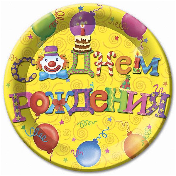 Тарелки Патибум С днём рождения 23 см. ламинированные, 6 шт.Тарелки<br>Характеристики:<br><br>• возраст: от 3 лет;<br>• тип игрушки: тарелки;<br>• количество: 6 шт;<br>• размер тарелки: 23 см;<br>• вес: 100  гр;<br>• размеры: 0,5х25х32 см;<br>• материал: бумага;<br>• бренд: Патибум;<br>• страна производитель: Россия.<br><br>Тарелки бумажные ламинированные «С Днем Рождения. Русская версия» 6шт подойдут для организации детской вечеринки, дня рождения и других праздников. Круглые тарелки выполнены из бумаги и имеют размер 23 см. Одноразовая посуда ламинирована для большей прочности. На них изображены яркие картинки. Данные тарелки входят в состав коллекции праздничной одноразовой посуды «С Днем Рождения. Русская версия»  и лучше всего их использовать для сервировки праздничного стола вместе с другими элементами из этой коллекции (стаканчики, скатерть и карнавальные аксессуары коллекции)<br><br>Изделия выполнены из качественных материалов, предназначенных для детей возрастом от трех лет. Такая посуда в виде тарелочек станет отличным дополнением праздничного настроения. А эта  расцветка понравится и мальчикам, и девочкам.<br> <br>Тарелки бумажные ламинированные «С Днем Рождения. Русская версия» 6шт можно купить в нашем интернет-магазине.<br>Ширина мм: 5; Глубина мм: 250; Высота мм: 320; Вес г: 100; Возраст от месяцев: 36; Возраст до месяцев: 2147483647; Пол: Унисекс; Возраст: Детский; SKU: 7224693;