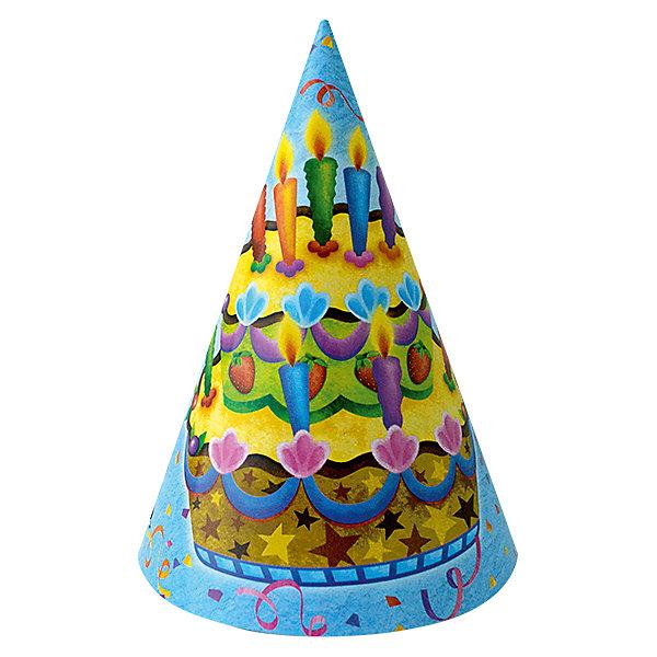 F Колпачок Праздничный торт 6штДетские шляпы и колпаки<br>Колпачок из плотного картона - карнавальный головной убор. Данный колпачок является карнавальным аксессуаром коллекции праздничной одноразовой посуды Праздничный торт. В упаковке содержится шесть карнавальных колпачков одного дизайна.<br><br>Ширина мм: 135<br>Глубина мм: 180<br>Высота мм: 270<br>Вес г: 52<br>Возраст от месяцев: 36<br>Возраст до месяцев: 2147483647<br>Пол: Унисекс<br>Возраст: Детский<br>SKU: 7224728