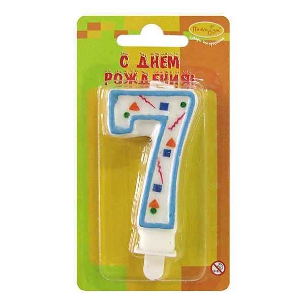 MC Свеча Цифра 7 Голубое Конфетти 7смНовинки для праздника<br>Характеристики:<br><br>• возраст: от 3 лет;<br>• тип игрушки: свеча;<br>• вес: 22 гр;<br>• размеры: 1,5х7х13 см;<br>• материал: парафин;<br>• бренд: Патибум; <br>• страна производитель: Россия.<br><br>MC Свеча Цифра 7 «Голубое Конфетти» 7см - это оригинальная фигурка-свечка для торта, выполняющая декоративную функцию.  Оригинальные свечи в форме цифры «3» хорошо использовать для украшения праздничного стола, также ими можно украсить торт или десерт на День рождения. Свечи для торта отличаются высоким качеством, они не вредны для детей от трех  лет и, конечно же, их можно использовать с продуктами. Температура хранения и транспортировки от -10 до +25С. <br><br>Вместе с этой свечкой из натурального парафина можно использовать и другие из этой серии. Высота украшения для торта составляет 7 см. Она легко устанавливается в торт и вынимается. Свеча входит в коллекцию свечей «голубое конфетти».  <br><br>MC Свечу Цифра 7 «Голубое Конфетти» 7см можно купить в нашем интернет-магазине.<br><br>Ширина мм: 15<br>Глубина мм: 70<br>Высота мм: 130<br>Вес г: 22<br>Возраст от месяцев: 36<br>Возраст до месяцев: 2147483647<br>Пол: Унисекс<br>Возраст: Детский<br>SKU: 7224789