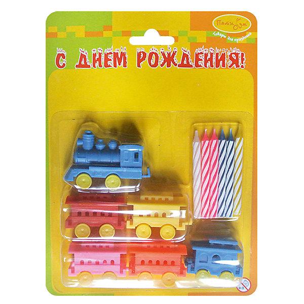 MC Свечи  с держателями Паровозик 6штНовинки для праздника<br>Характеристики:<br><br>• возраст: от 3 лет;<br>• тип игрушки: свеча;<br>• вес: 36 гр;<br>• количество: 5 шт;<br>• размеры: 3,5х20х15 см;<br>• материал: парафин;<br>• бренд: Патибум; <br>• страна производитель: Россия.<br><br>MC Свечи  с держателями «Паровозик» 5шт -  это свечки для торта, выполняющие декоративную функцию.  Оригинальные свечи в виде паровозика хорошо использовать для украшения праздничного стола, также ими можно украсить торт или десерт на День рождения. Свечи для торта отличаются высоким качеством, они не вредны для детей от трех  лет и, конечно же, их можно использовать с продуктами. Температура хранения и транспортировки от -10 до +25С. <br><br>Вместе с этой свечкой из натурального парафина можно использовать и другие из этой серии. Этот набор свечек из 5 штук с держателями. Они легко устанавливаются в торт и вынимаются. Красивые свечки станут отличным дополнением праздника, особенно для мальчика и его друзей. <br><br>MC Свечи  с держателями «Паровзик» 5шт можно купить в нашем интернет-магазине.<br>Ширина мм: 20; Глубина мм: 150; Высота мм: 200; Вес г: 44; Возраст от месяцев: 36; Возраст до месяцев: 2147483647; Пол: Мужской; Возраст: Детский; SKU: 7224798;