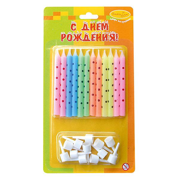 MC Свечи В горошек ассорти 12шт с держателями 6 смНовинки для праздника<br>Характеристики:<br><br>• возраст: от 3 лет;<br>• тип игрушки: свеча;<br>• вес: 26 гр;<br>• количество: 12 шт;<br>• размеры: 1,5х20х5,5 см;<br>• материал: парафин;<br>• бренд: Патибум; <br>• страна производитель: Россия.<br><br>MC Свечи В горошек ассорти 12шт с держателями 6 см -  это свечки для торта, выполняющие декоративную функцию.  Оригинальные свечи в полосочку хорошо использовать для украшения праздничного стола, также ими можно украсить торт или десерт на День рождения. Свечи для торта отличаются высоким качеством, они не вредны для детей от трех  лет и, конечно же, их можно использовать с продуктами. Температура хранения и транспортировки от -10 до +25С. <br><br>Вместе с этой свечкой из натурального парафина можно использовать и другие из этой серии. Этот набор свечек из 12 штук с держателями. Они легко устанавливаются в торт и вынимаются. Красивые свечки станут отличным дополнением праздника.<br><br>MC Свечи В горошек ассорти 12шт с держателями 6 см можно купить в нашем интернет-магазине.<br>Ширина мм: 15; Глубина мм: 55; Высота мм: 120; Вес г: 26; Возраст от месяцев: 36; Возраст до месяцев: 2147483647; Пол: Унисекс; Возраст: Детский; SKU: 7224802;