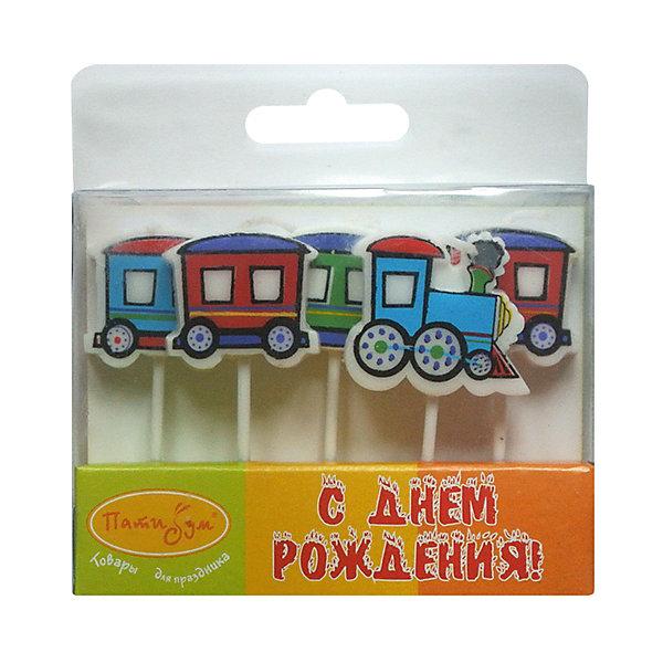 MC Свечи Паровозик 5штДетские свечи для торта<br>Характеристики:<br><br>• возраст: от 3 лет;<br>• тип игрушки: свеча;<br>• вес: 34 гр;<br>• количество: 5 шт;<br>• размеры: 1,5х5,5х12 см;<br>• материал: парафин;<br>• бренд: Патибум; <br>• страна производитель: Россия.<br><br>MC Свечи «Паровозик» 5шт -  это свечки для торта, выполняющие декоративную функцию.  Оригинальные свечи в виде паровозика хорошо использовать для украшения праздничного стола, также ими можно украсить торт или десерт на День рождения. Свечи для торта отличаются высоким качеством, они не вредны для детей от трех  лет и, конечно же, их можно использовать с продуктами. Температура хранения и транспортировки от -10 до +25С. <br><br>Вместе с этой свечкой из натурального парафина можно использовать и другие из этой серии. Этот набор свечек из 5 штук с держателями. Они легко устанавливаются в торт и вынимаются. Красивые свечки станут отличным дополнением праздника.<br><br>MC Свечи «Паровозик» 5шт можно купить в нашем интернет-магазине.<br>Ширина мм: 15; Глубина мм: 55; Высота мм: 120; Вес г: 34; Возраст от месяцев: 36; Возраст до месяцев: 2147483647; Пол: Мужской; Возраст: Детский; SKU: 7224808;
