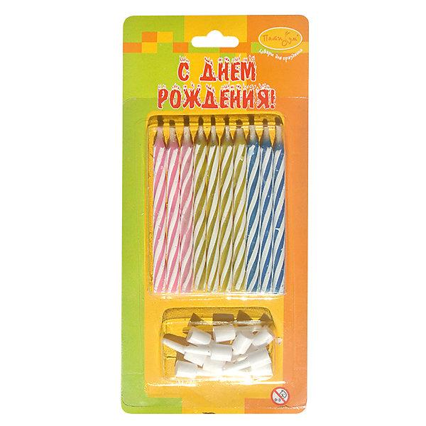 Свечи для торта Патибум Магические 6 см., с держателями, 10 шт.Детские свечи для торта<br>Характеристики:<br><br>• возраст: от 3 лет;<br>• тип игрушки: свеча;<br>• вес: 14 гр;<br>• количество: 10 шт;<br>• размеры: 1,5х5,5х12 см;<br>• материал: парафин;<br>• бренд: Патибум; <br>• страна производитель: Россия.<br><br>MC Свечи «Магические» 10шт с держателями 6см -  это свечки для торта, выполняющие декоративную функцию.  Оригинальные свечи в полосочку хорошо использовать для украшения праздничного стола, также ими можно украсить торт или десерт на День рождения. Свечи для торта отличаются высоким качеством, они не вредны для детей от трех  лет и, конечно же, их можно использовать с продуктами. Температура хранения и транспортировки от -10 до +25С. <br><br>Вместе с этой свечкой из натурального парафина можно использовать и другие из этой серии. Этот набор свечек из 10 штук с держателями  легко устанавливается в торт и вынимается. Красивые и стильные свечки станут отличным дополнением праздника.<br><br>MC Свечи «Магические» 10шт с держателями 6см можно купить в нашем интернет-магазине.<br>Ширина мм: 15; Глубина мм: 55; Высота мм: 120; Вес г: 16; Возраст от месяцев: 36; Возраст до месяцев: 2147483647; Пол: Унисекс; Возраст: Детский; SKU: 7224829;