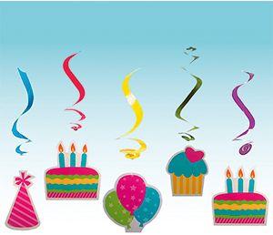 Патибум Q Подвеска бумажная С Днем Рождения-спираль 10см 5шт